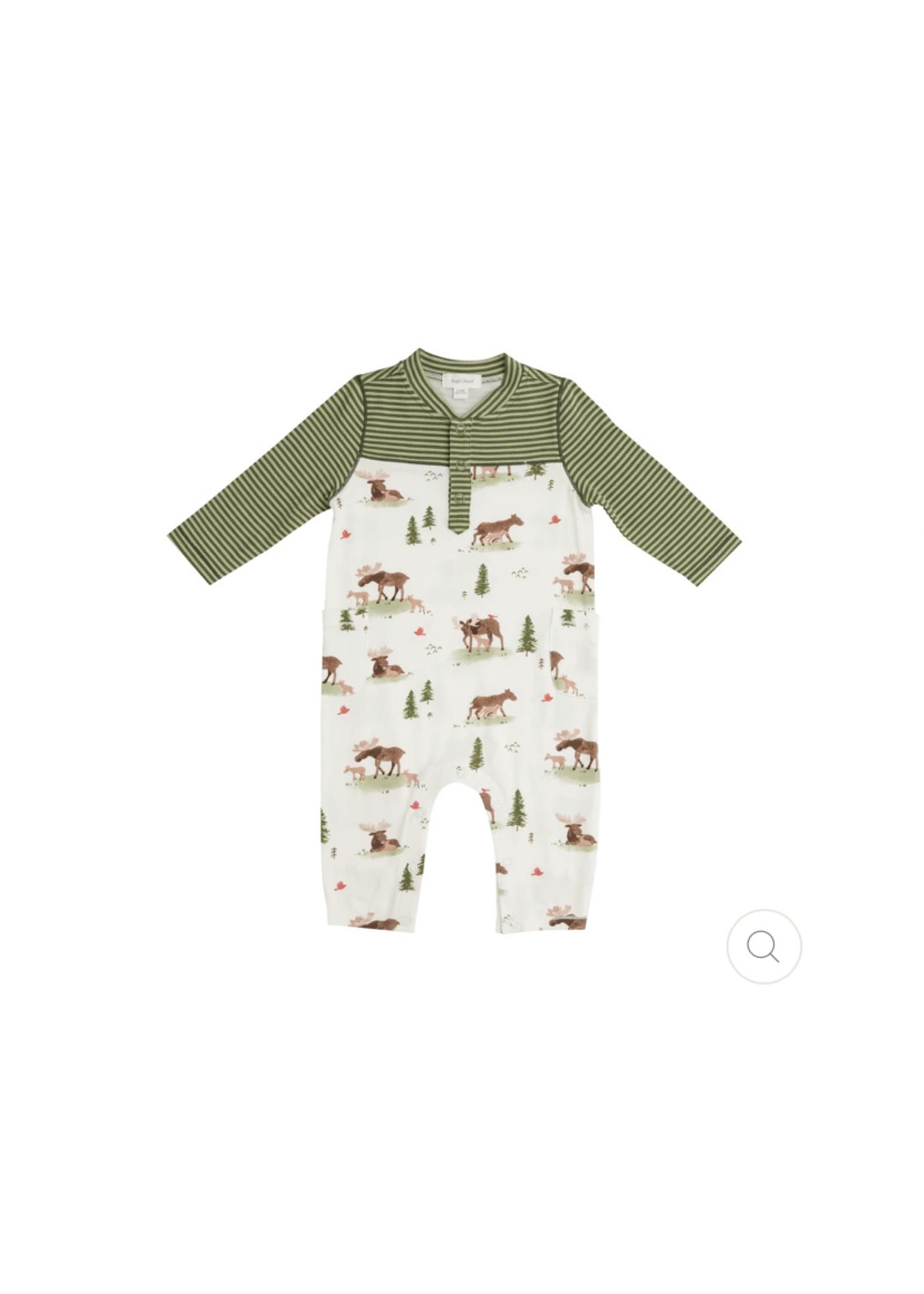 Angel Dear Moose Romper With Pockets