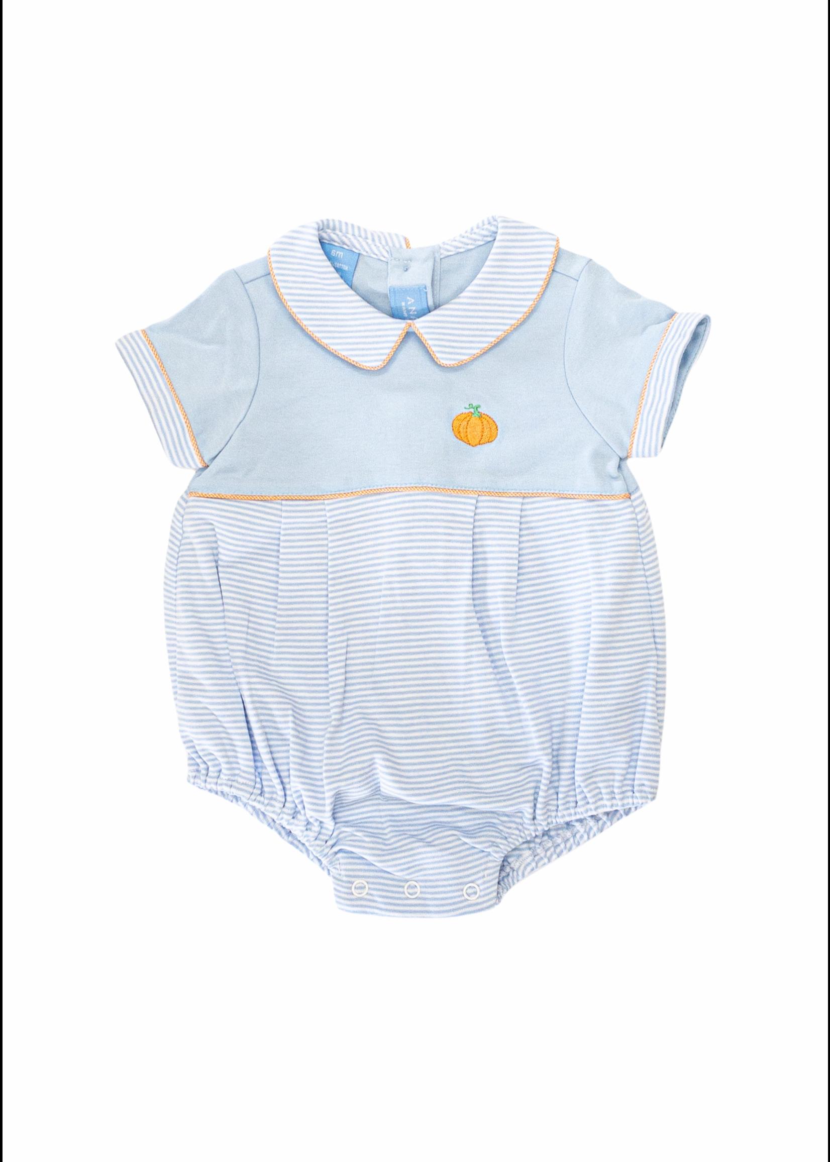 Anavini Pumpkin Periwinkle Blue  Bubble Stripe Knit