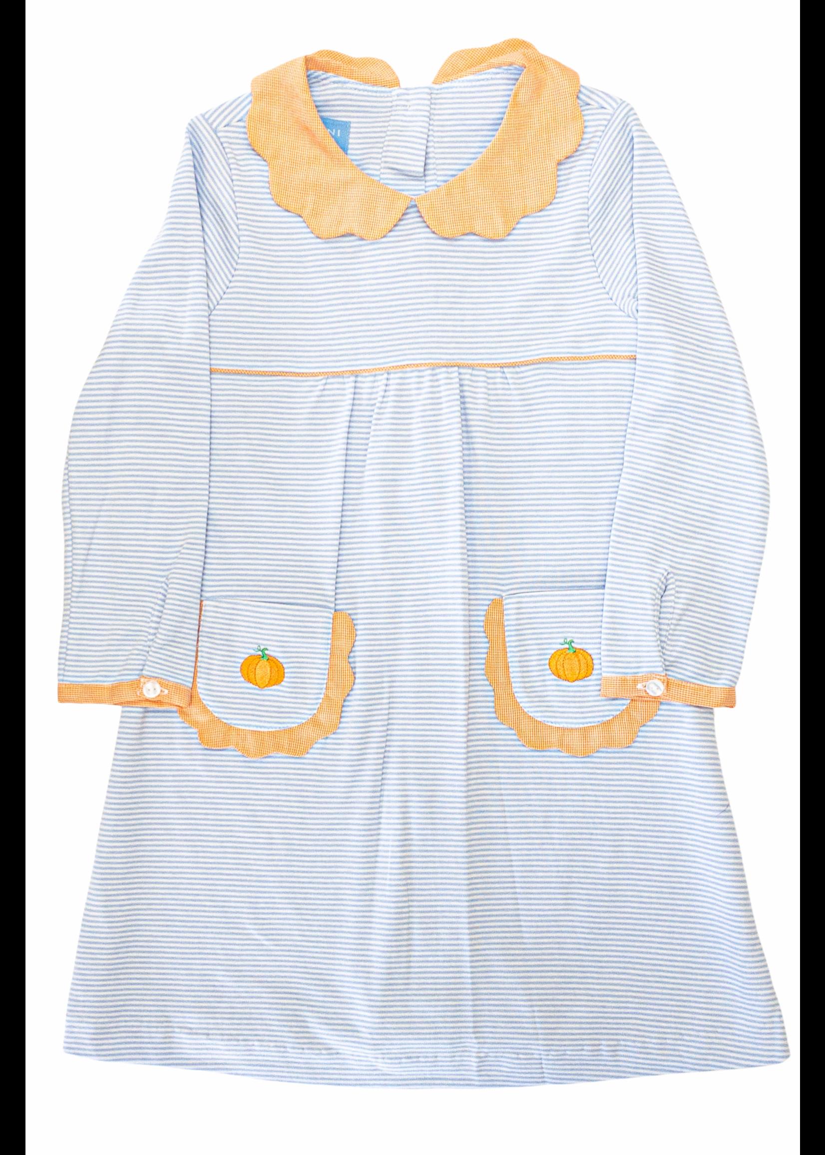Anavini Pumpkin Periwinkle Blue Stripe Knit Scallop Dress