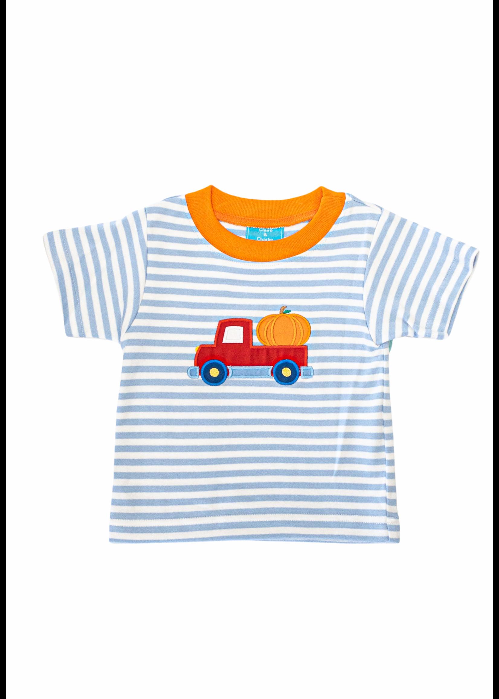 Claire and Charlie Pumpkin Boys Lt Blue Stripe Applique T-Shirt