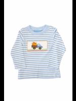 Anavini Tractor W/ Pumpkin Smocked Blue Striped Shirt