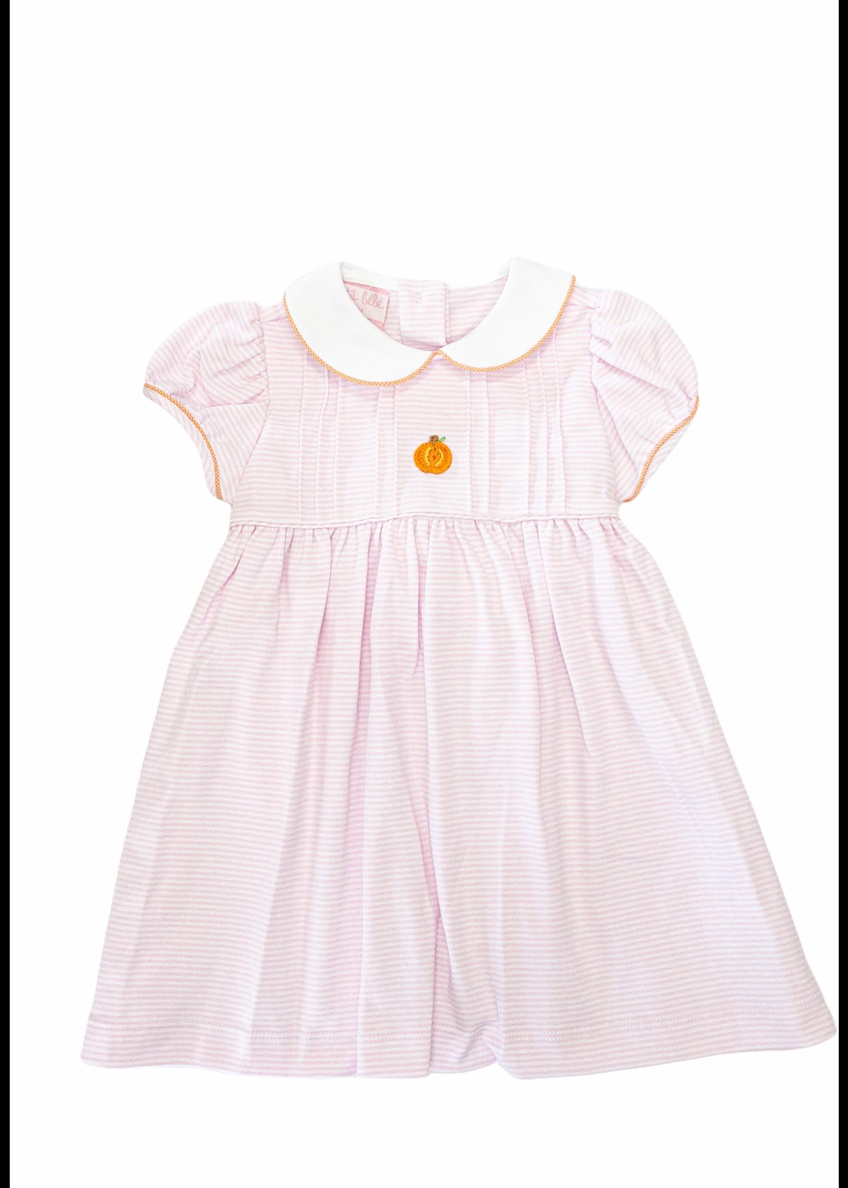 Petit Bebe Pumpkin Dress W/ Collar LT Pink Stripe Knit