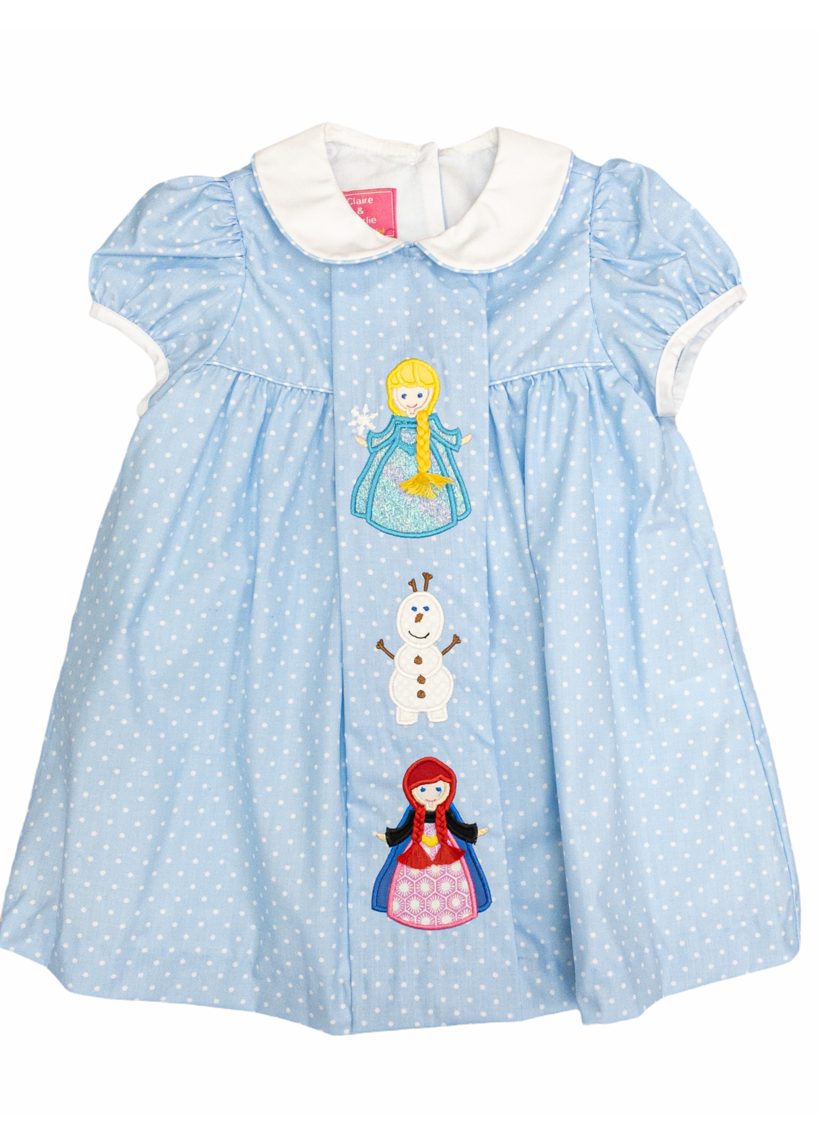 Claire and Charlie Ice Princess Float Dress W/ White Collar LT Blue W/ Dots