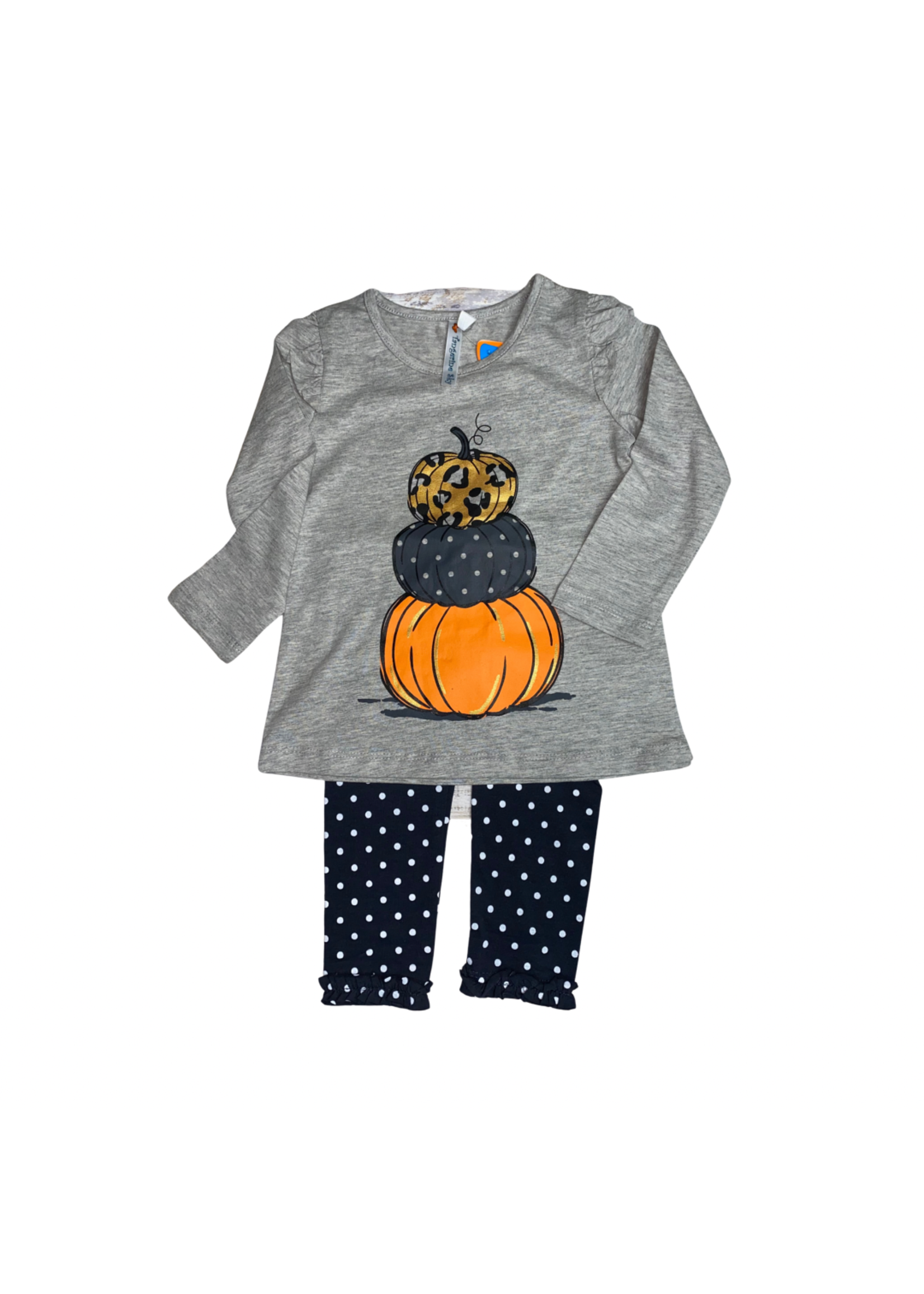 Tangerine Sky Pumpkin Stack Tunic w/ Dot Legging