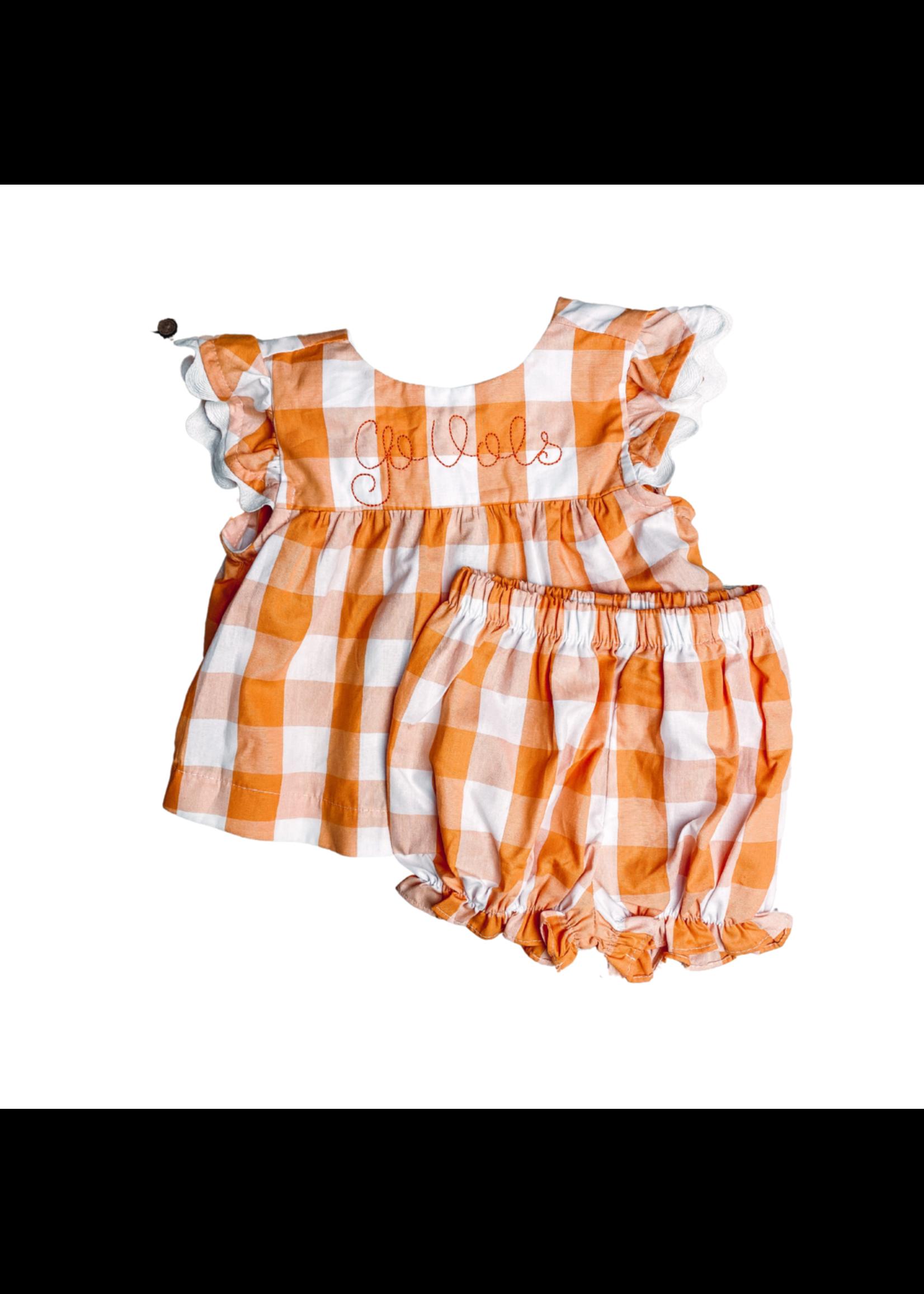 james and lottie Orange Mary Banded Short Set