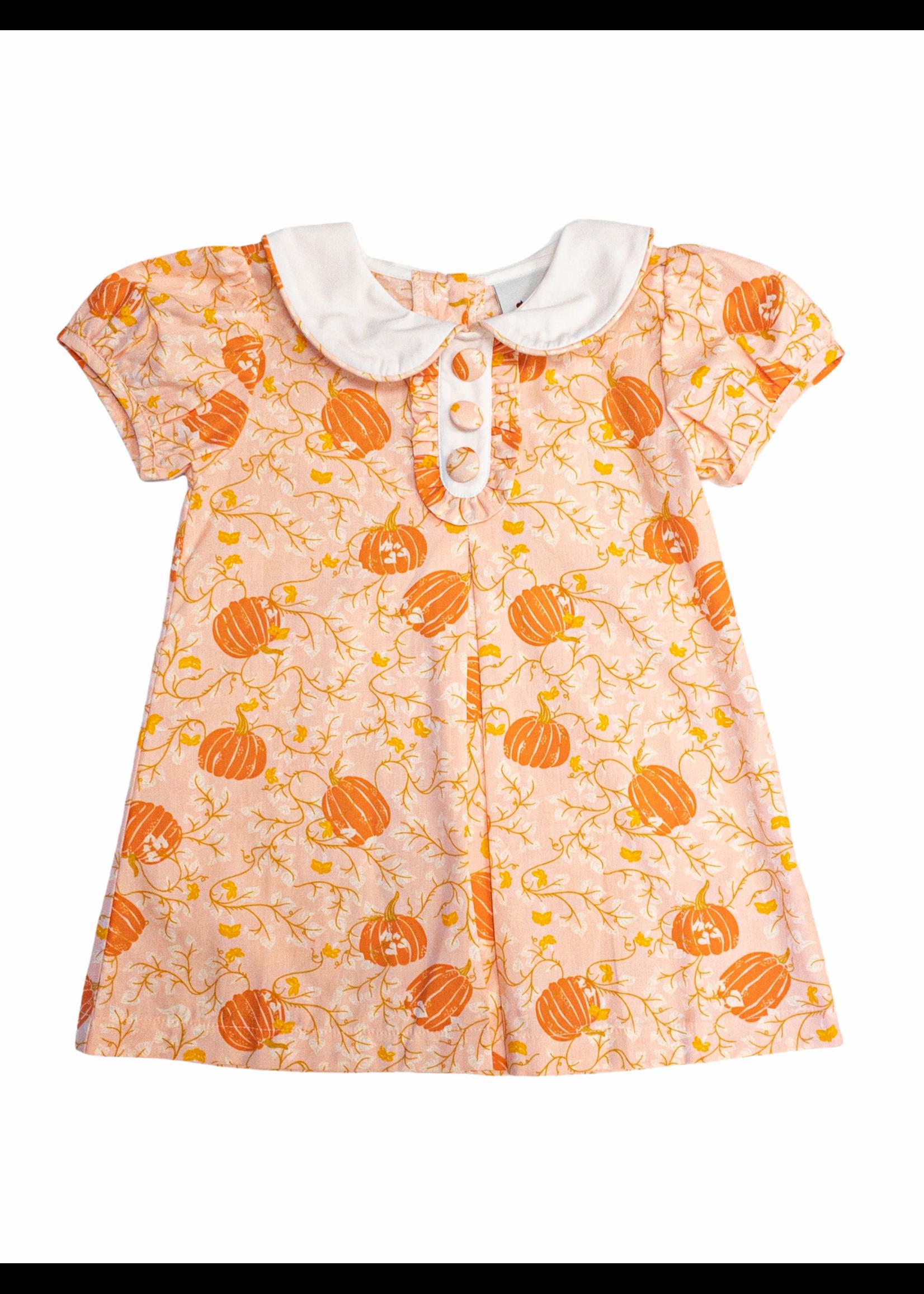 Delaney Pumpkin Print Peter Pan Aline Dress