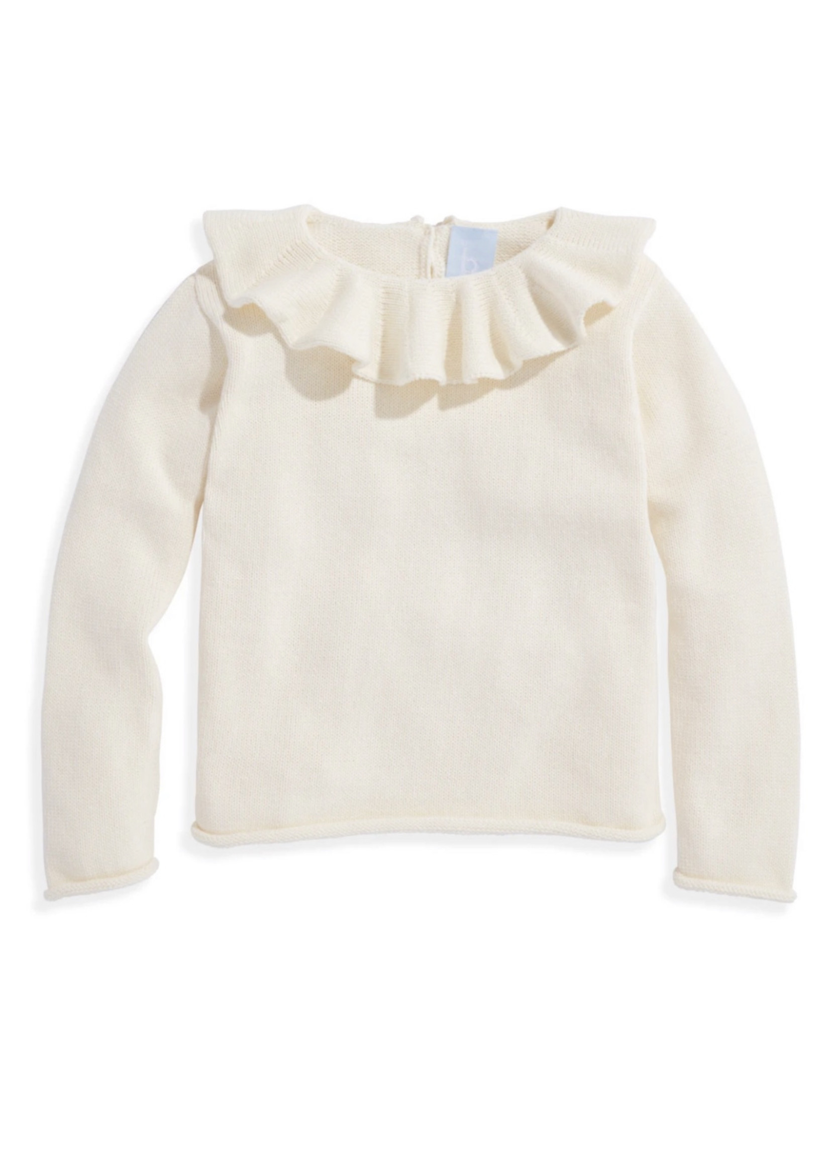 Bella Bliss Ruffle Neck Pullover Ivory