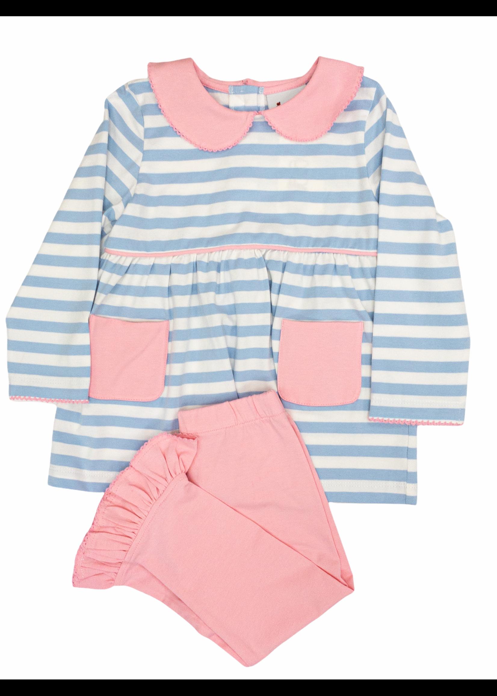 Delaney 150 Light Blue Pink Stripe Knit Legging Set