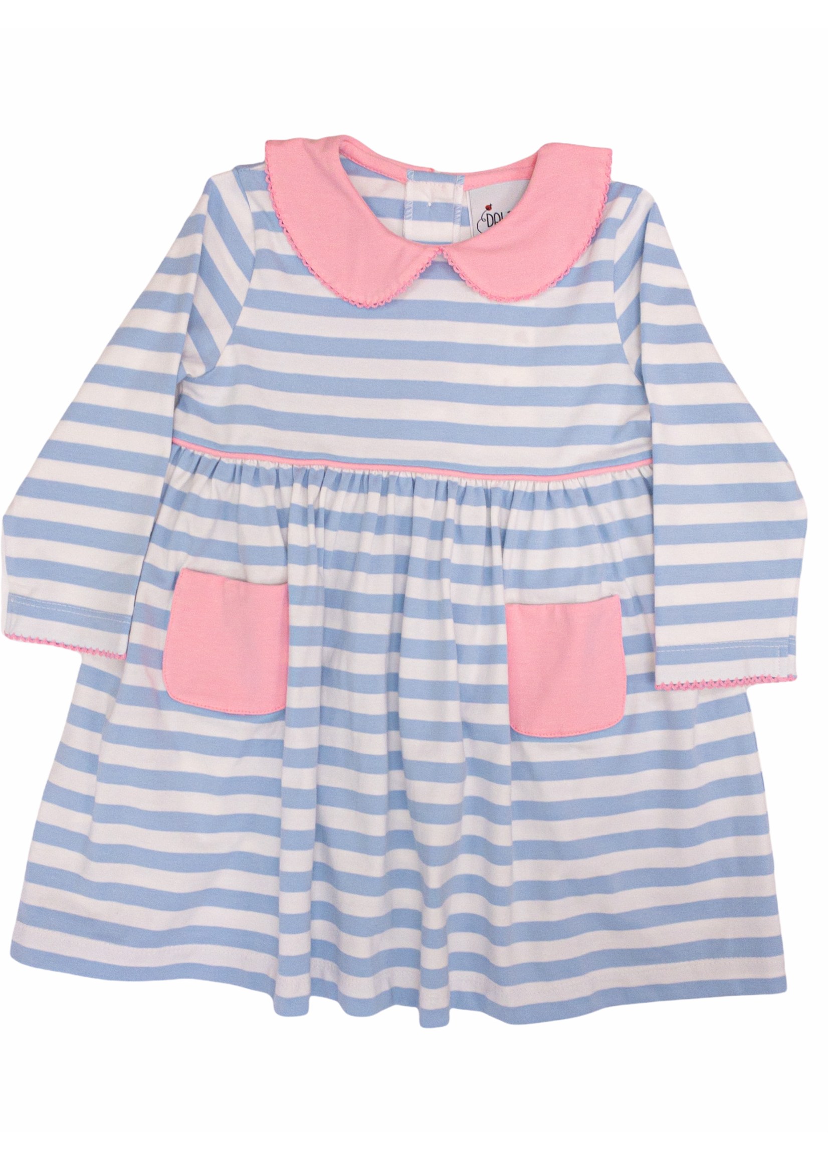 Delaney 149 Light Blue Pink Stripe Knit Dress