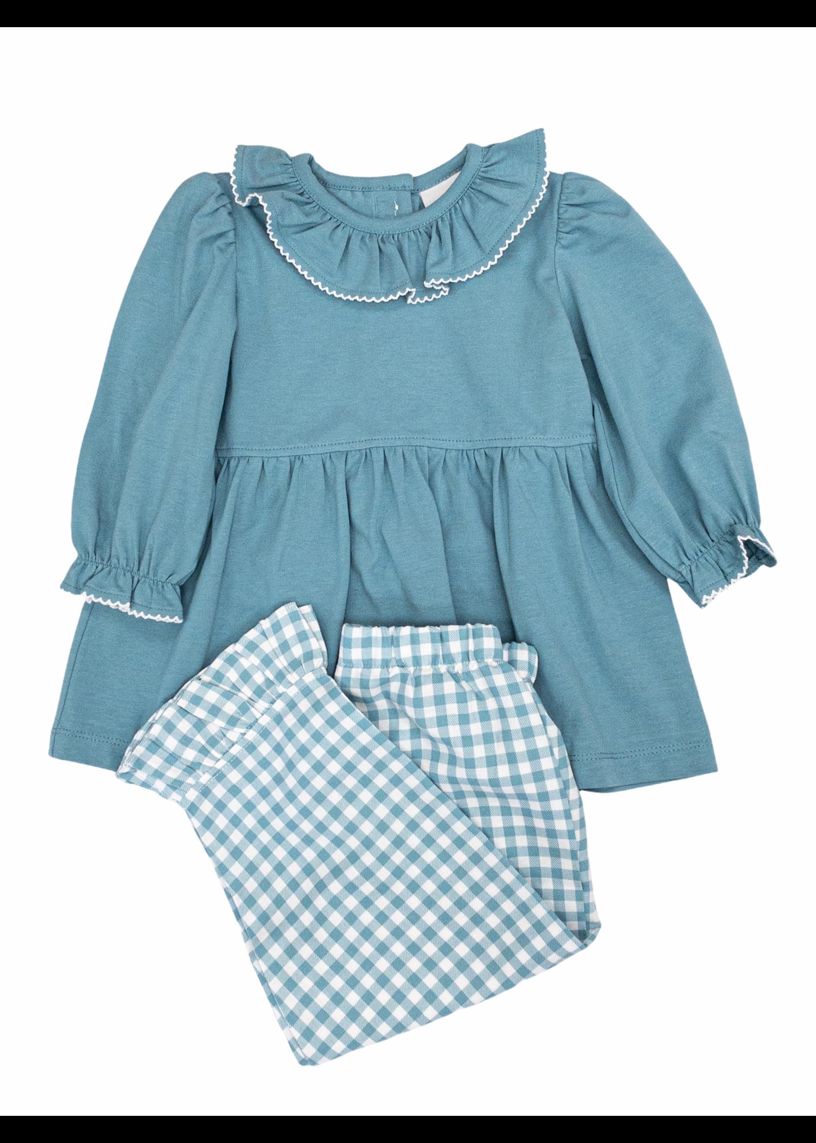 Delaney 79  Aqua Knit Top & Check Pant Set