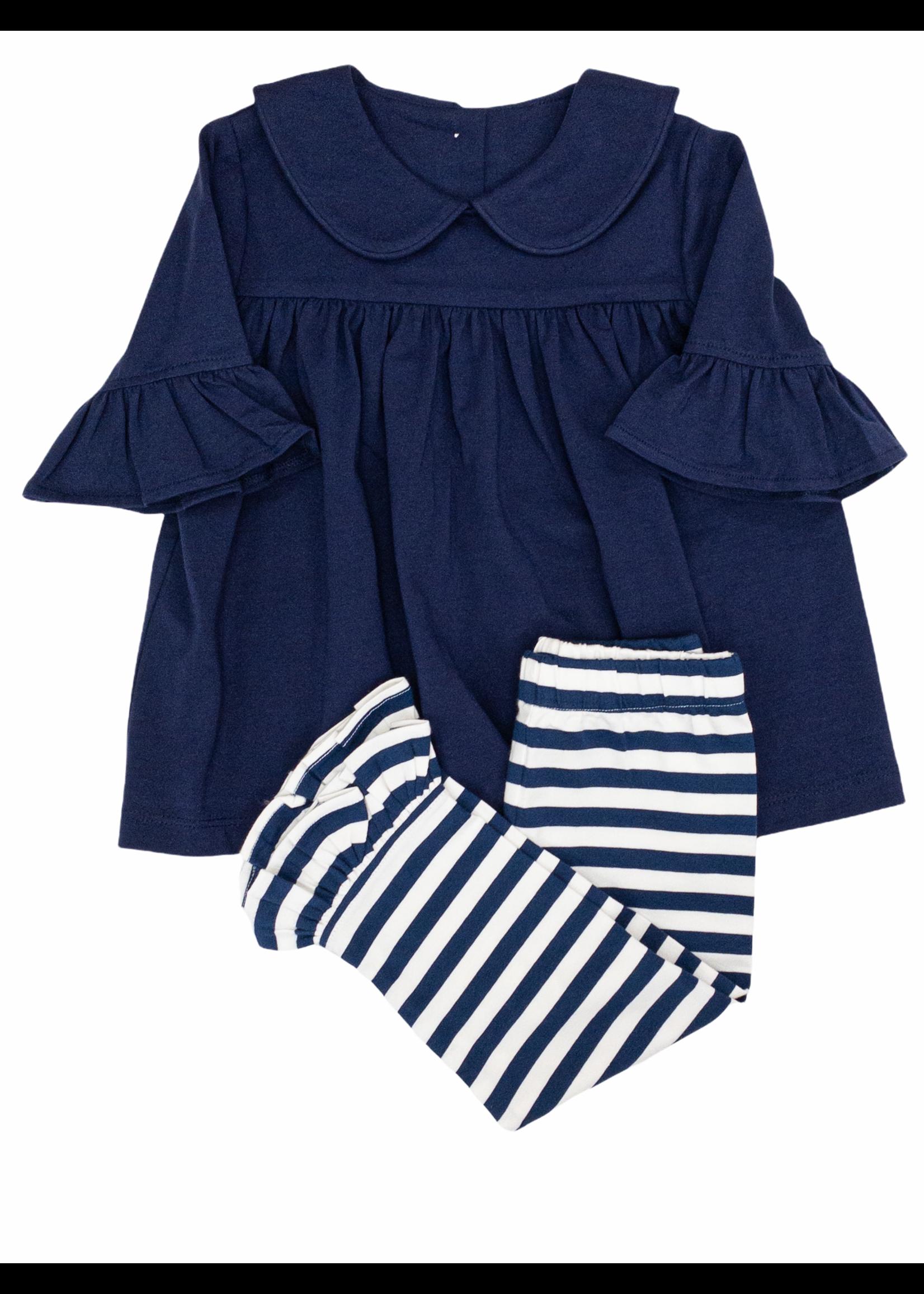 Delaney 146 Navy White Stripe Knit Top & Pant Set
