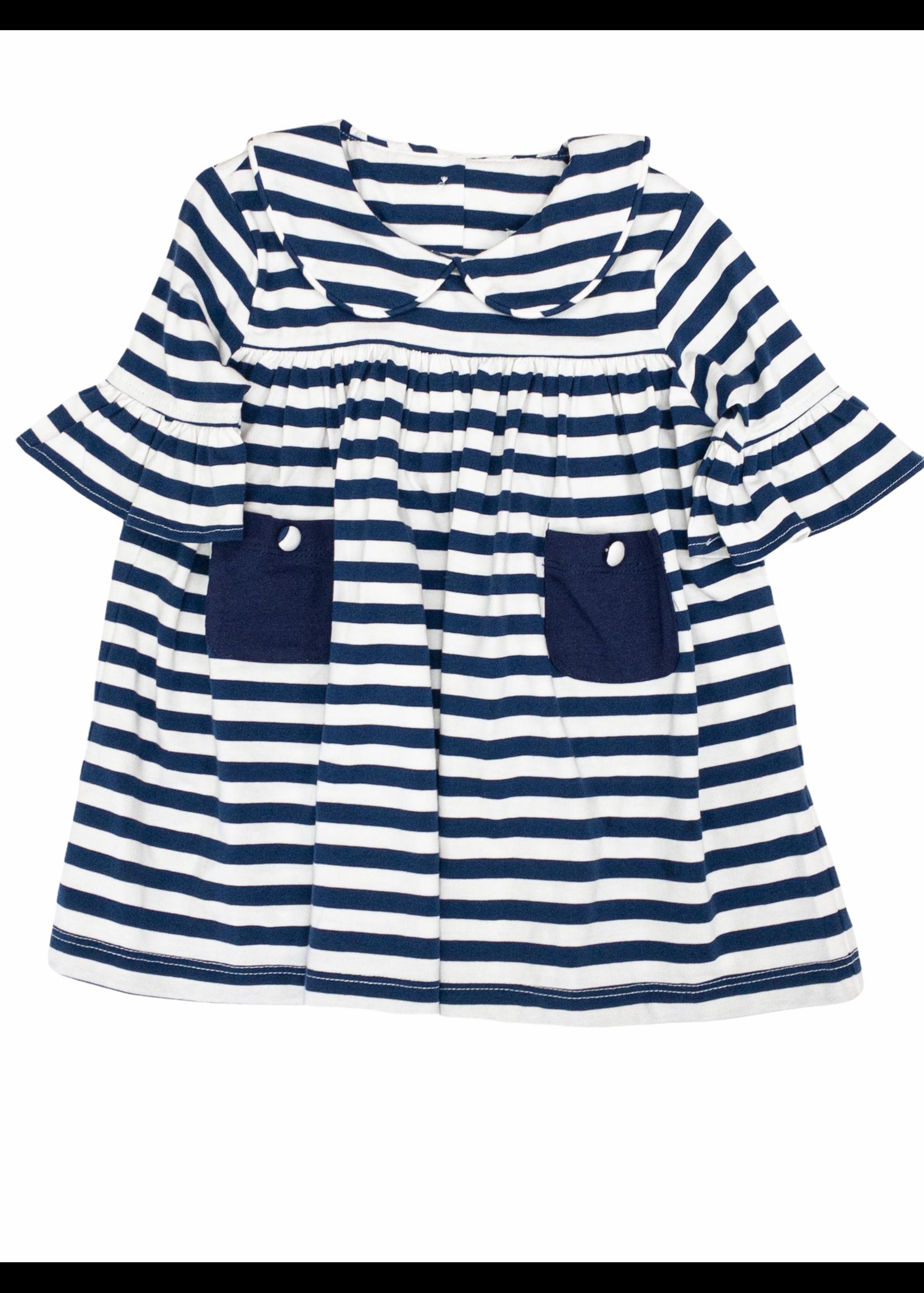 Delaney 145 Navy White Stripe Knit Ruffle Sleeve Dress