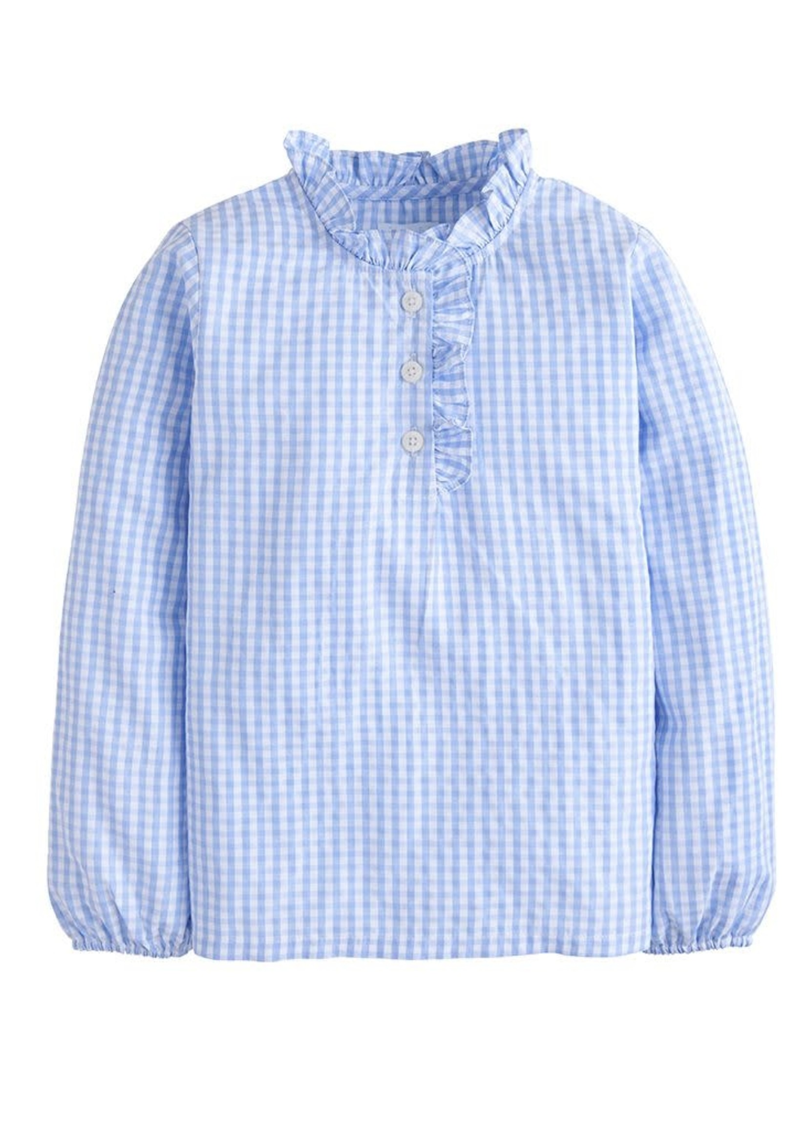Little English Ruffled Popover - Airy Blue Plaid