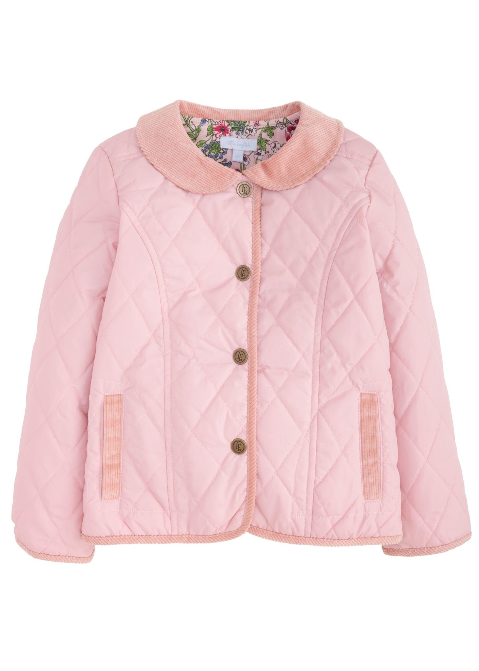 Little English Girl's Classic Quilted Coat - Dusty Pink