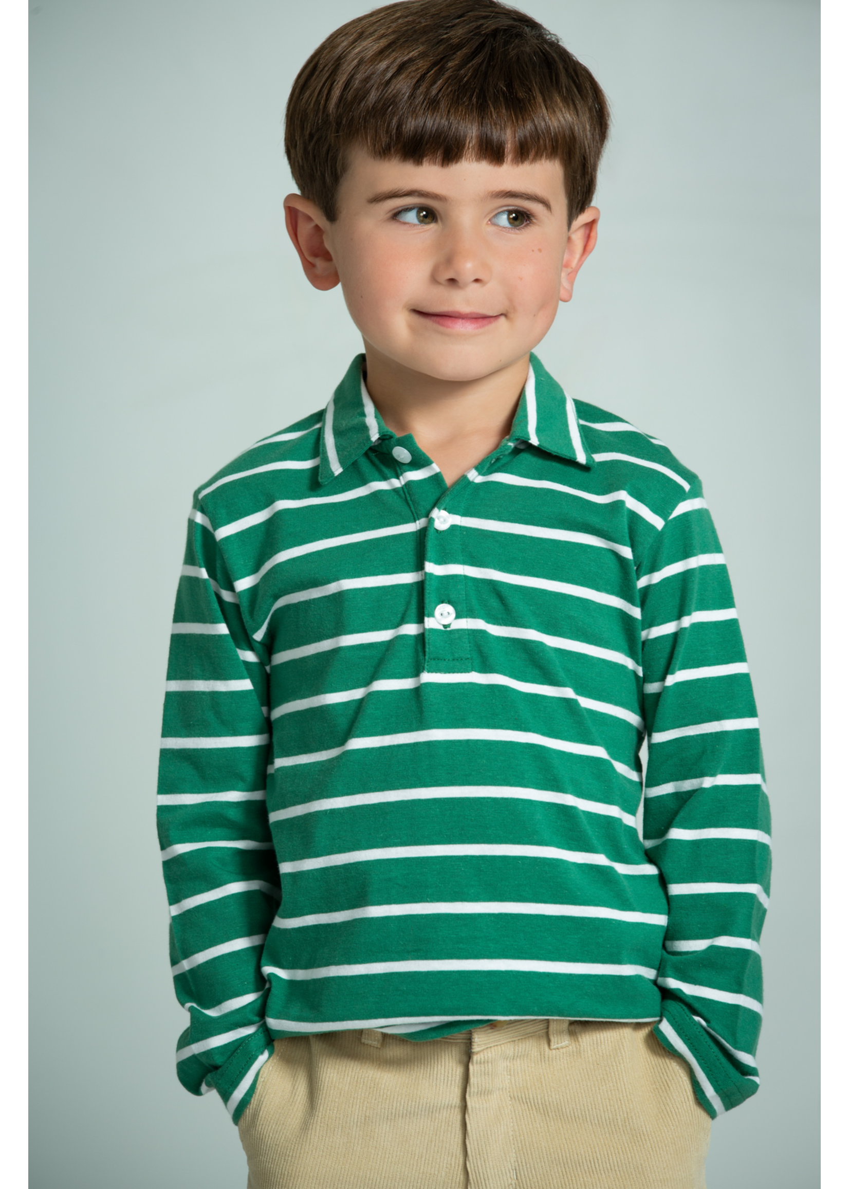 Little English Long Sleeve Striped Polo - Hunter Green