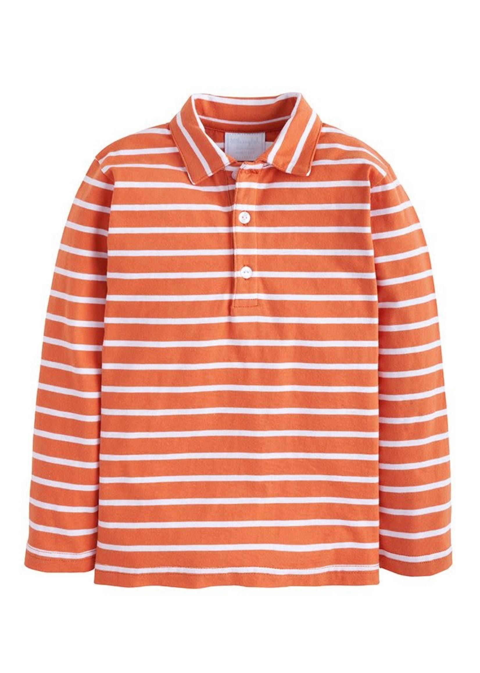 Little English Long Sleeve Striped Polo - Rust