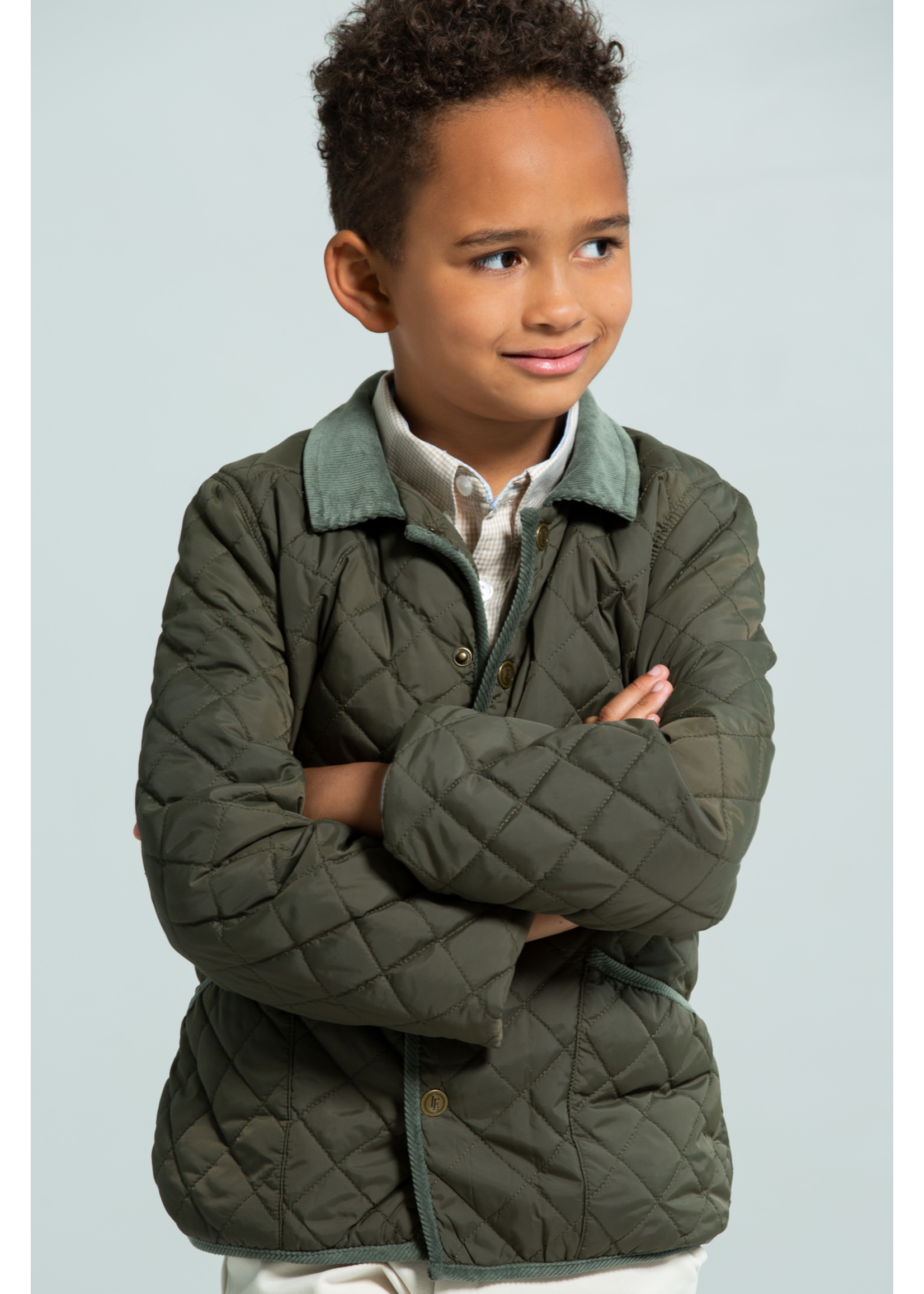 Little English Boy's Classic Quilted Coat - Olive