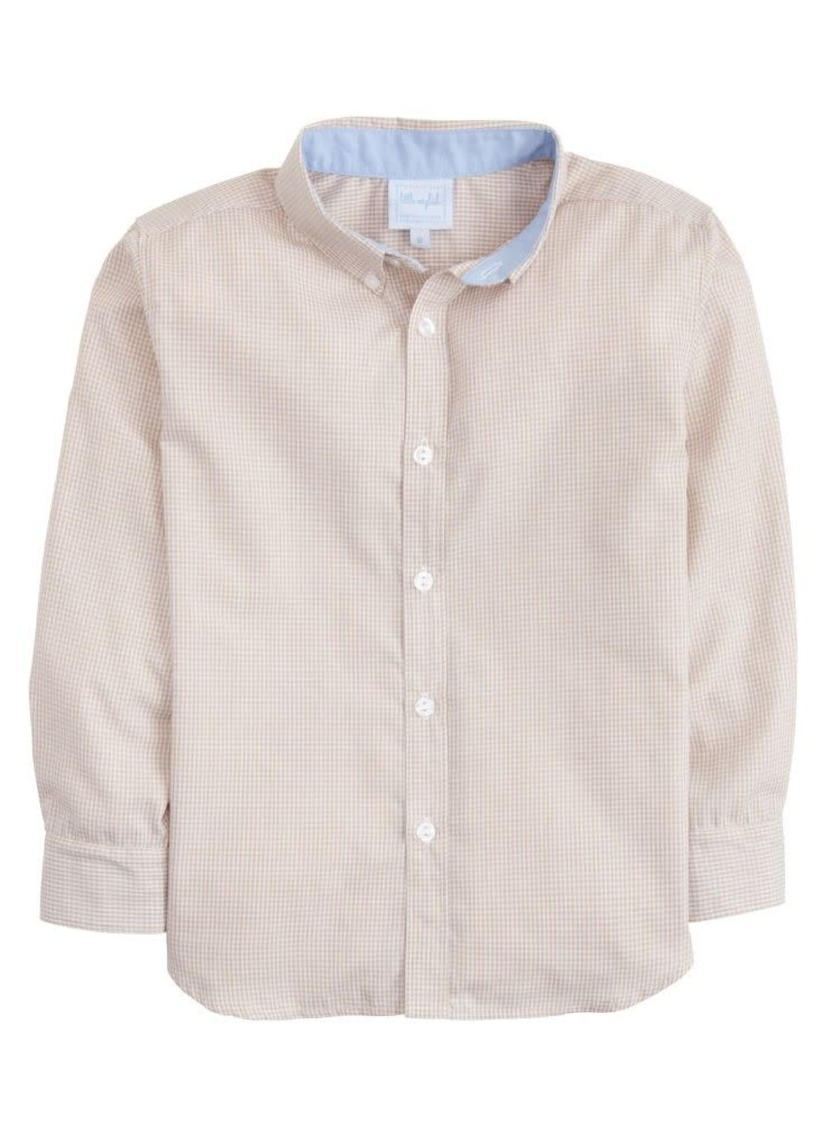 Little English Button Down Shirt - Tan Gingham