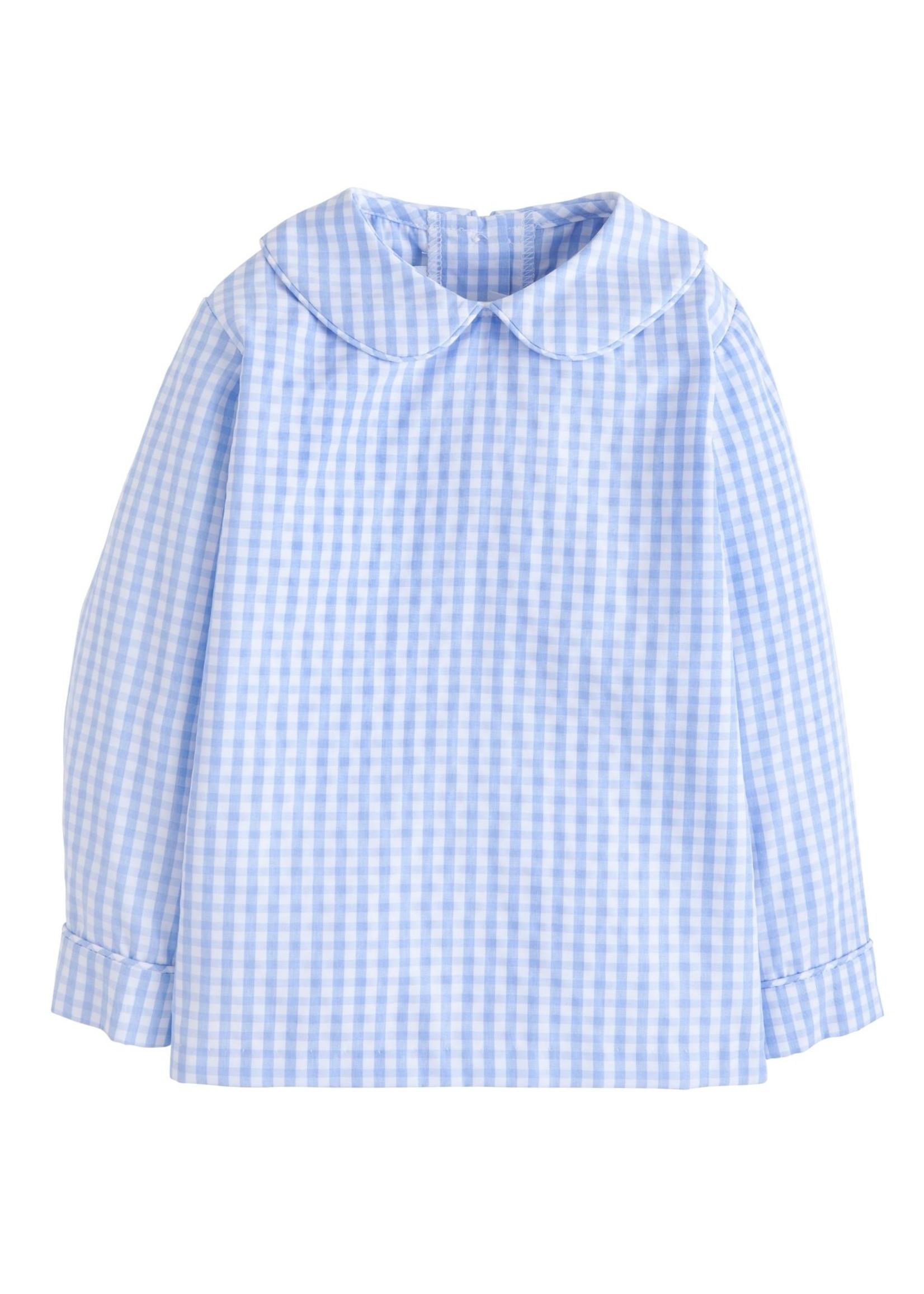Little English Plaid Peter Pan Shirt - Airy Blue Plaid