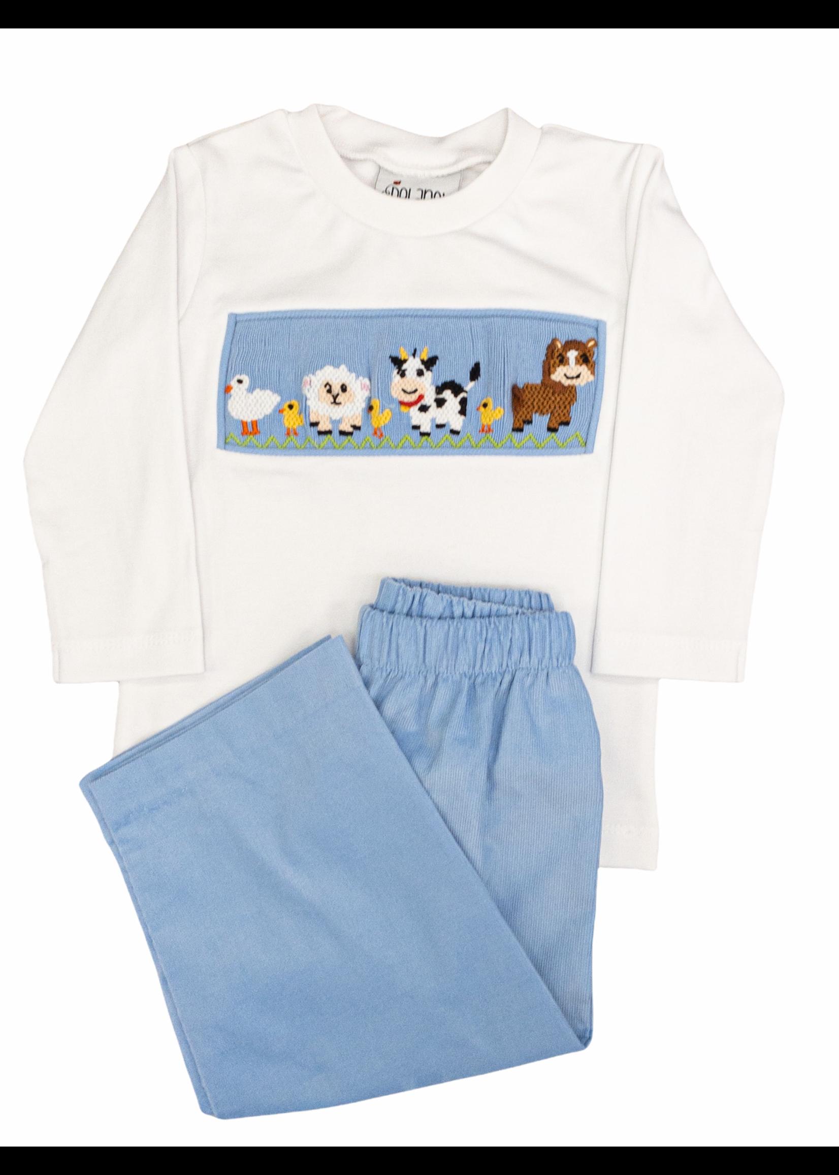 Delaney Smocked Farm Animal &  Blue Cord Set