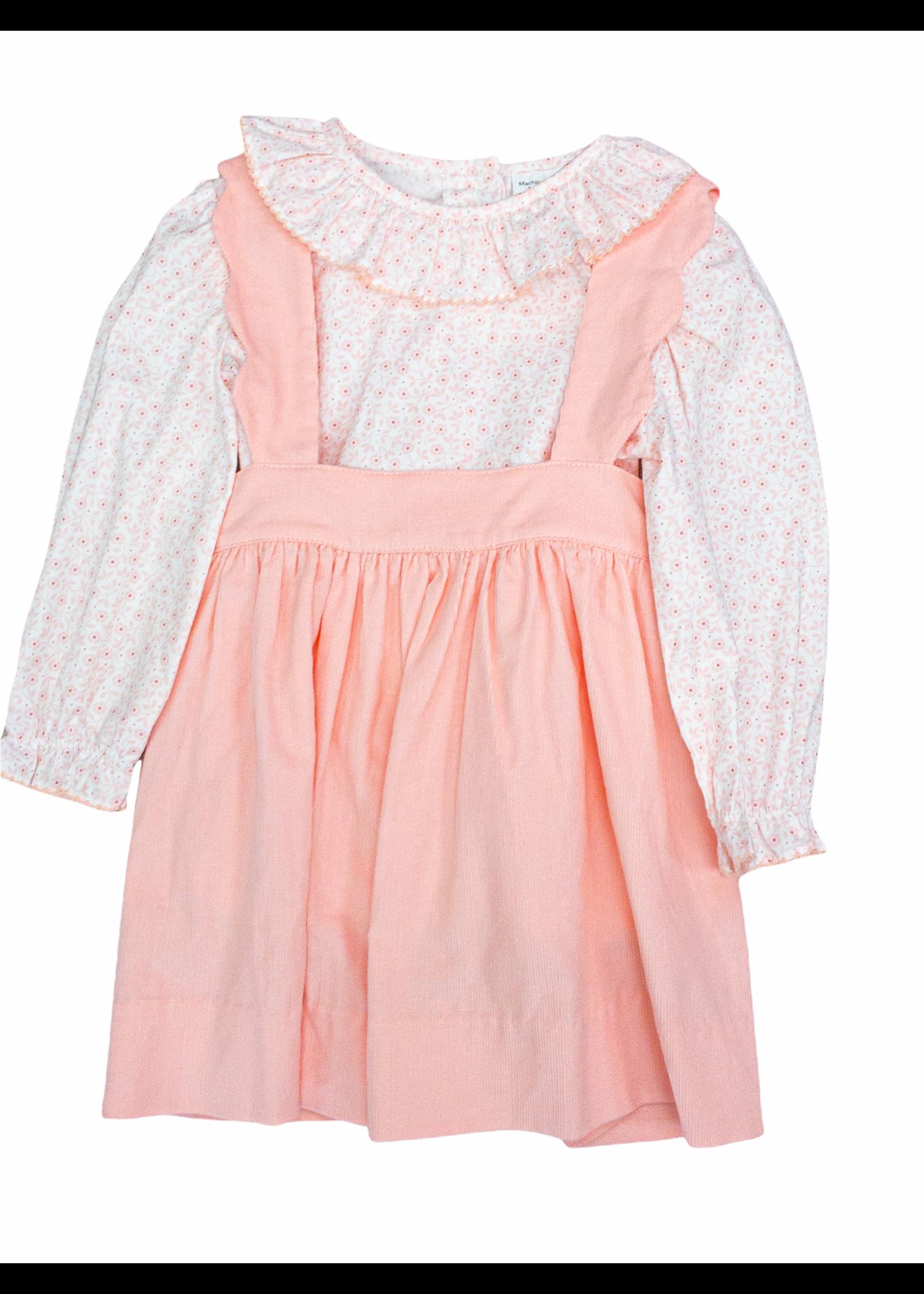 Delaney Blush Pink Cord Ruffle Blouse  Skirt Set