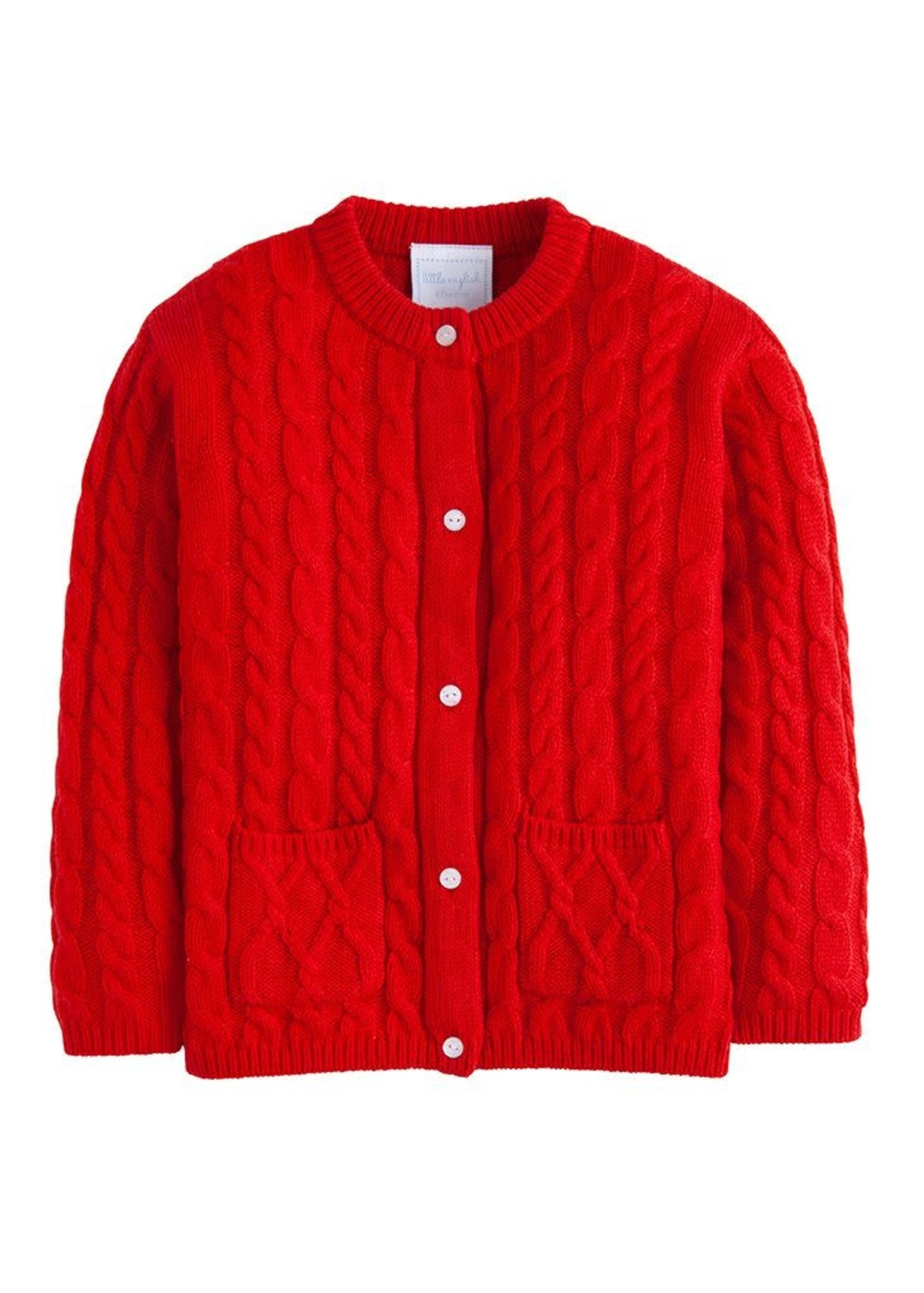 Little English Red Cashmere Cardigan