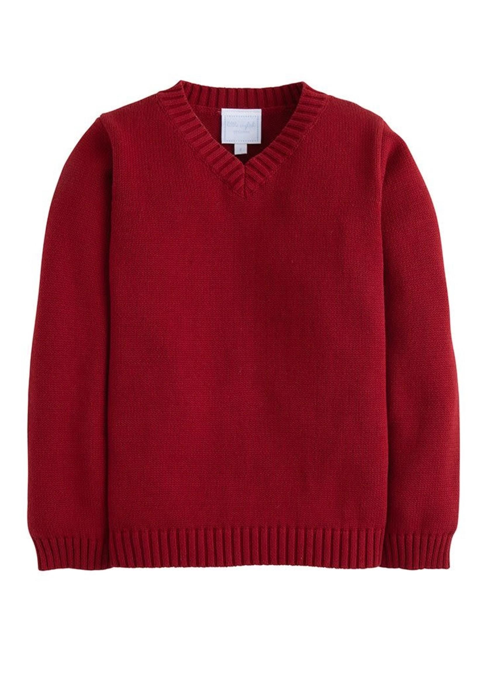 Little English V-Neck Sweater - Crimson