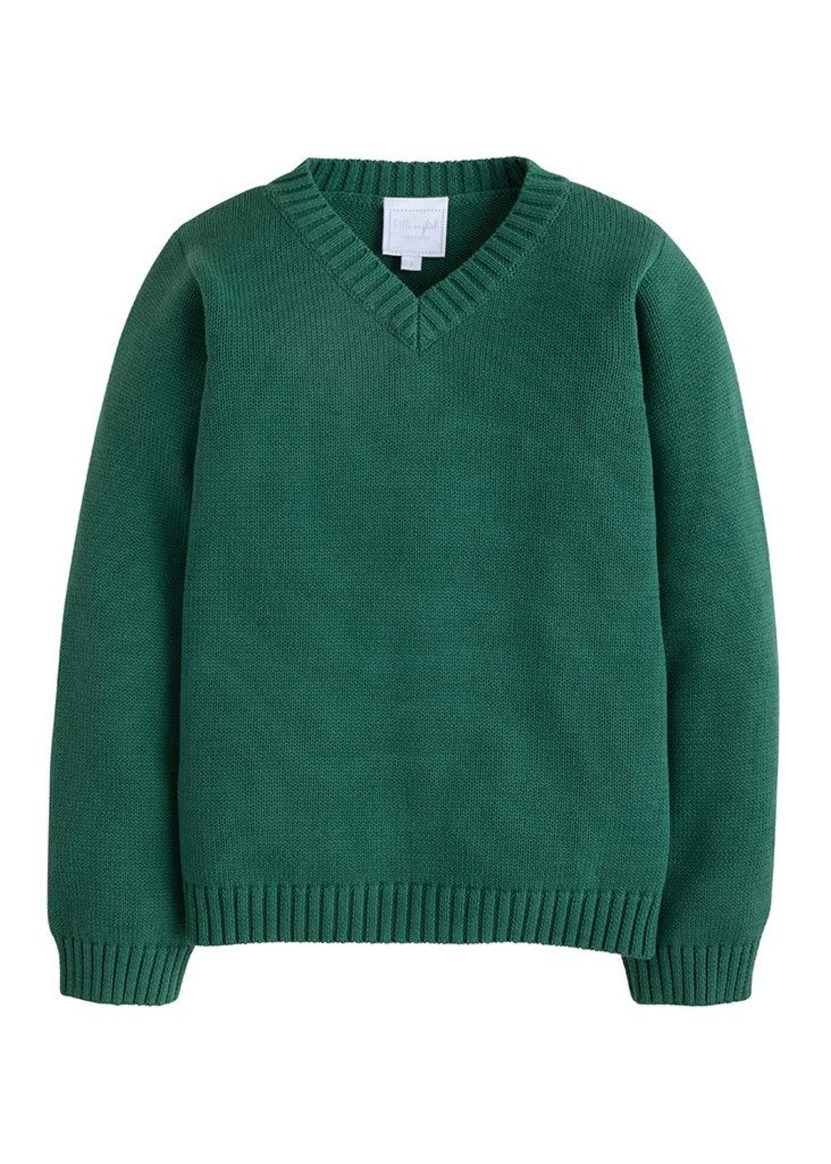 Little English V-Neck Sweater - Hunter Green