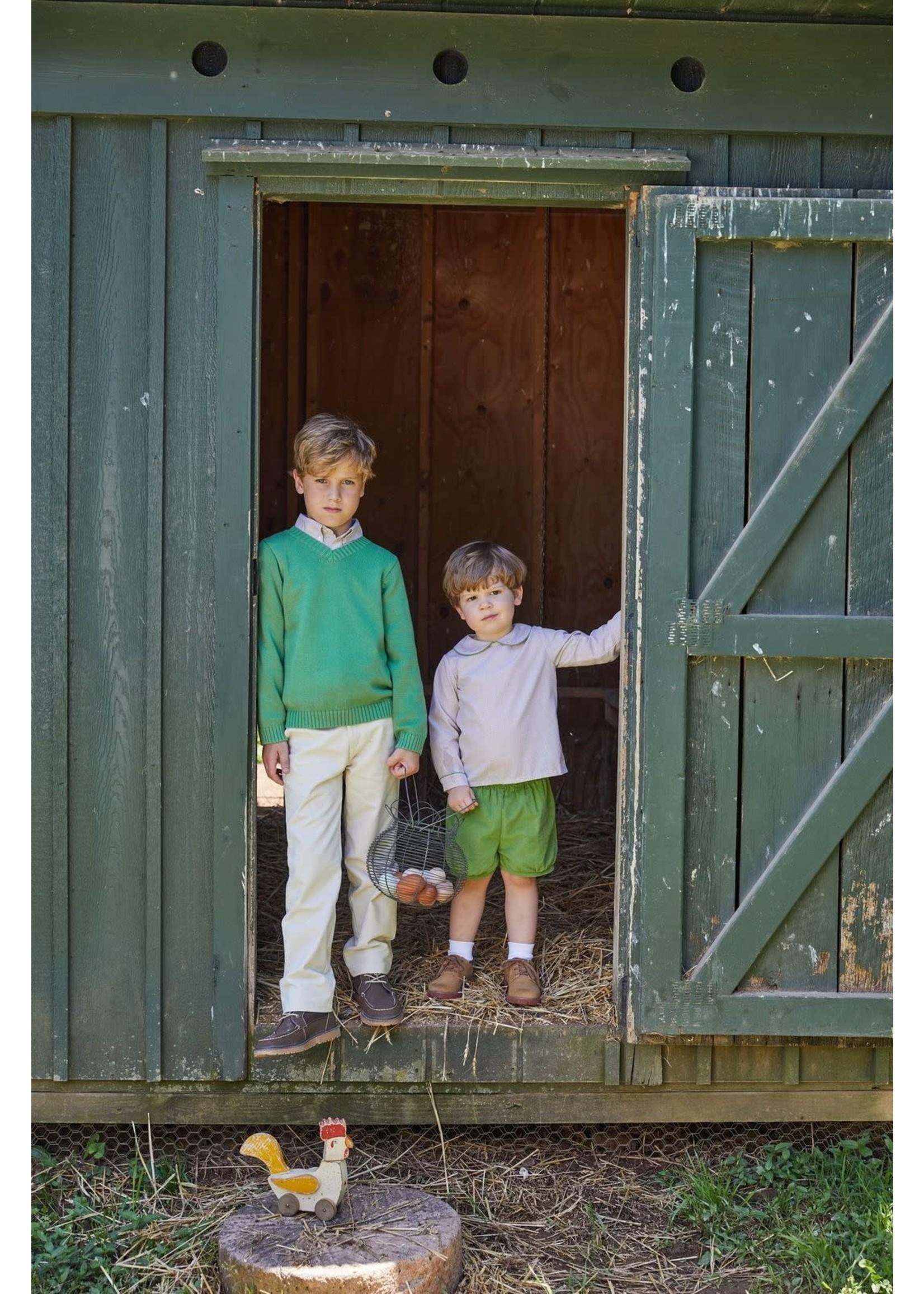 Little English V-Neck Sweater - Sage Green