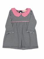 Luigi Luigi Navy Stripe Dress Pink Collar