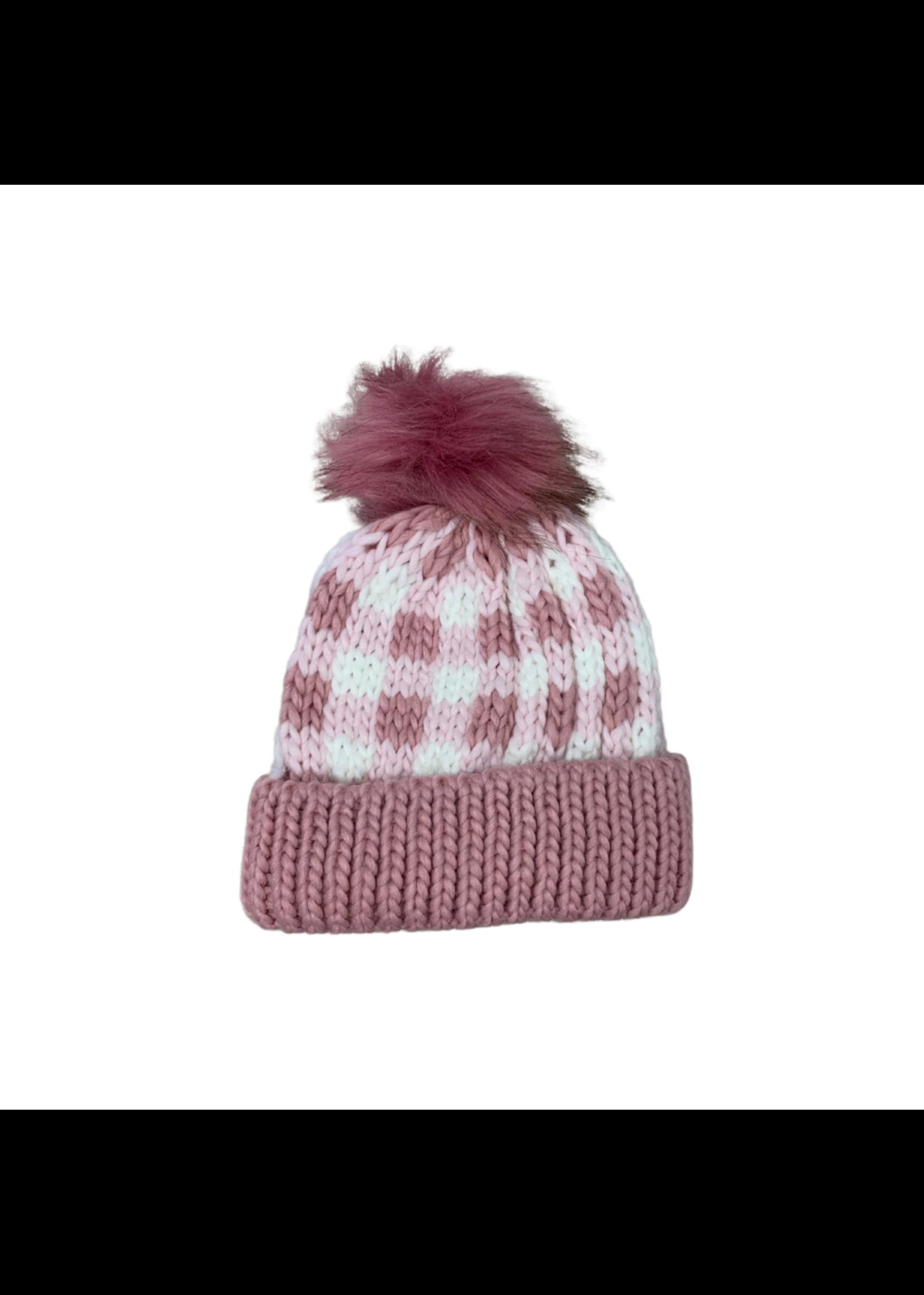 Huggalugs Buffalo Check Rosy Hat