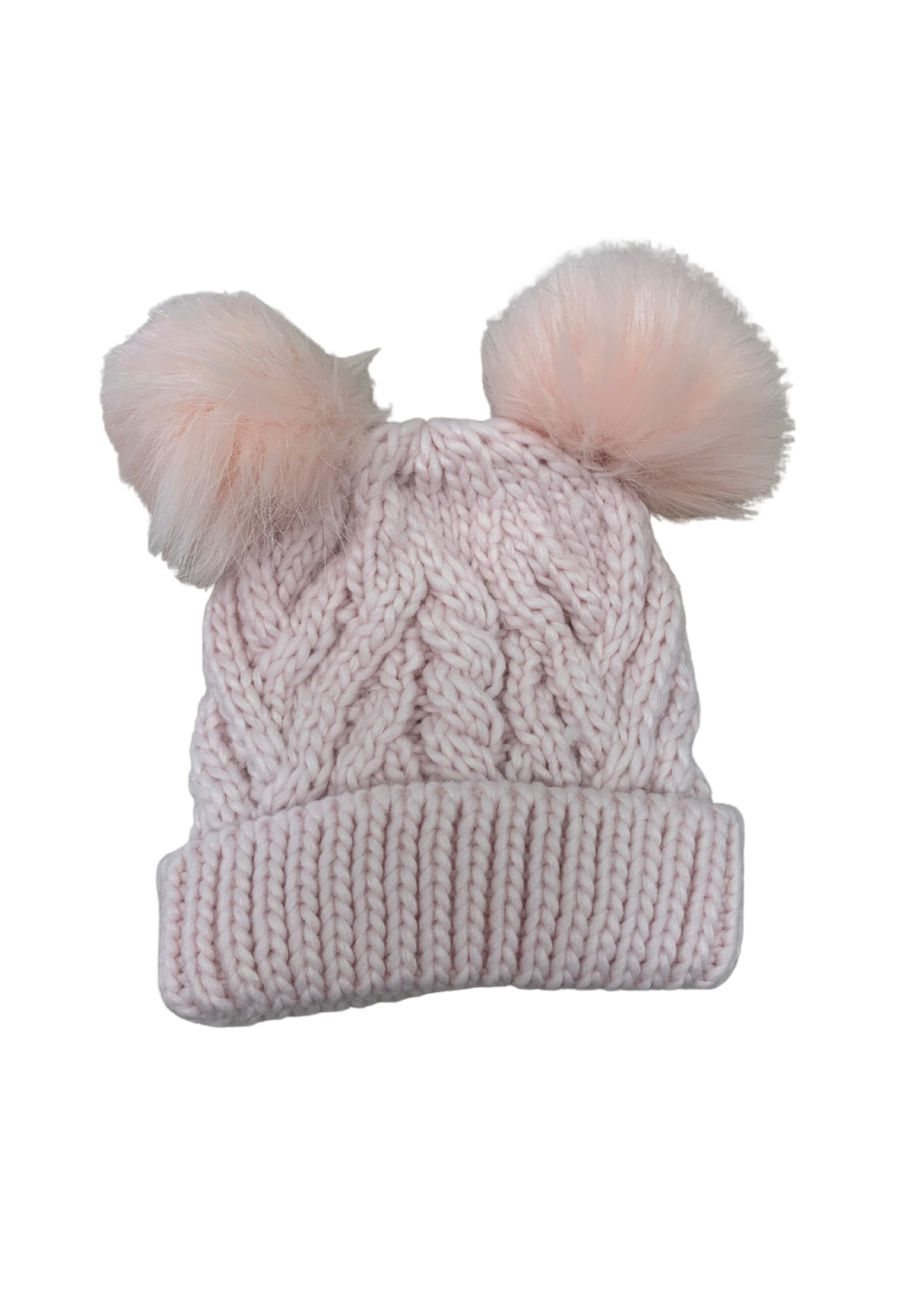 Huggalugs Fluffer Blush Pink Cable W/ 2 Pom Poms