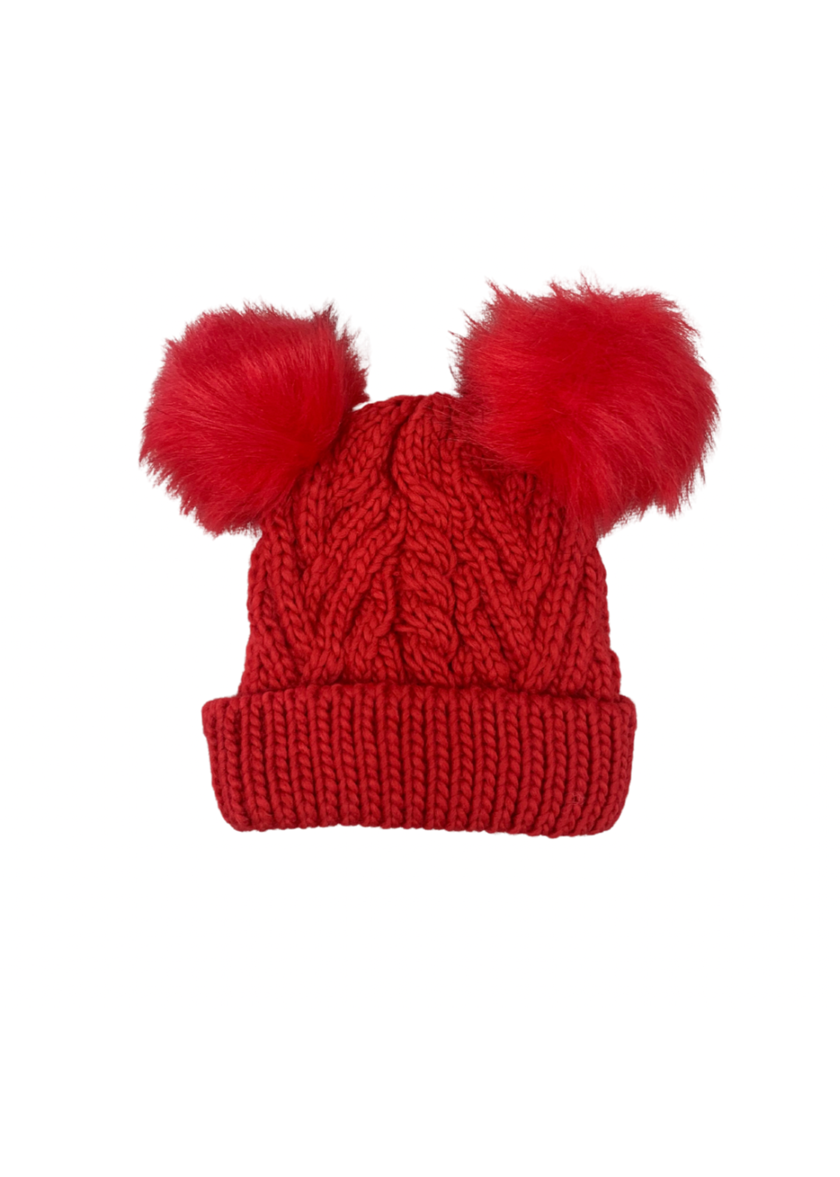 Huggalugs Fluffer Red Cable W/ 2 Pom Poms