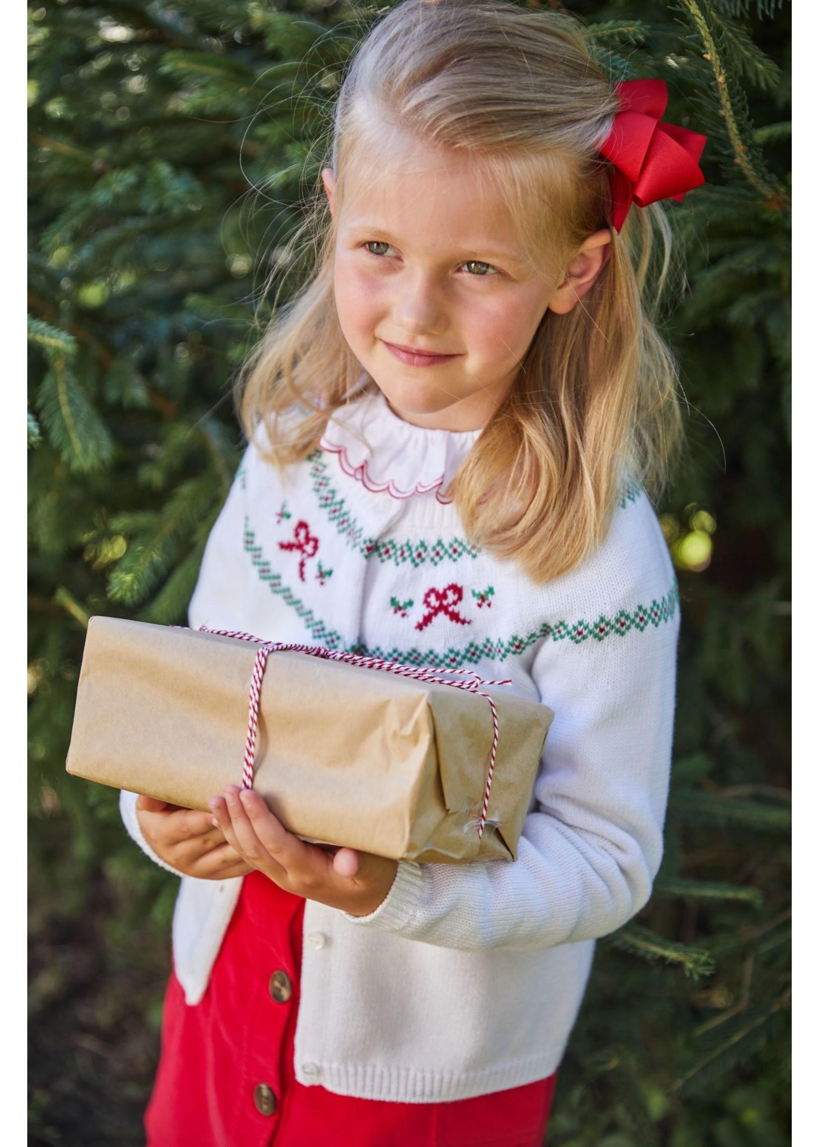 Little English Holiday Bow Fair Isle Cardigan