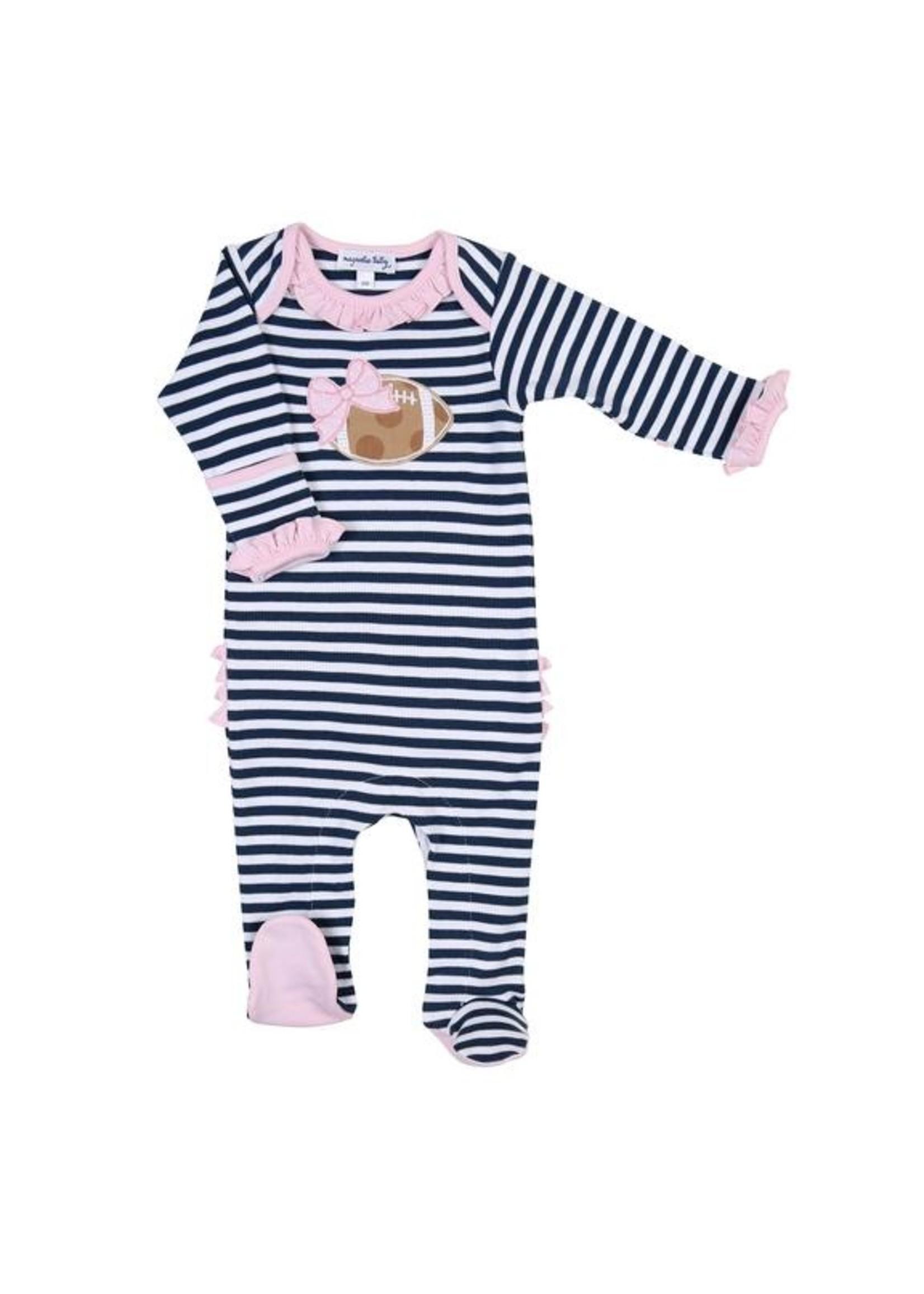 Magnolia Baby Football Stripes  Ruffle Lap Footie