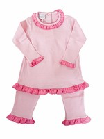 Squiggles Pink Mini Stripe Ruffle Pant Set