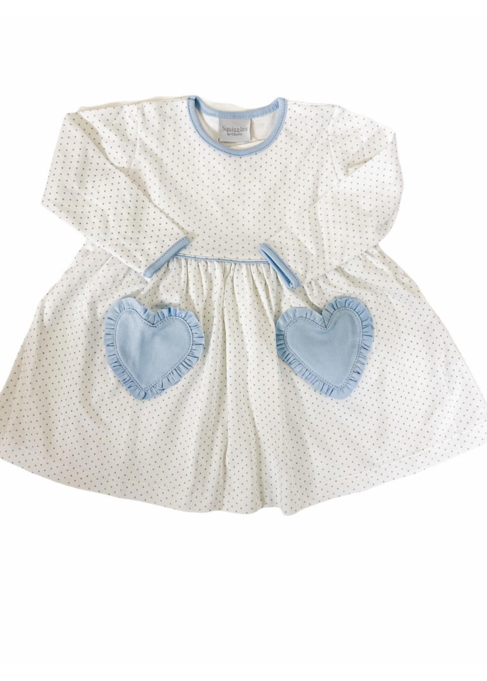 Squiggles Blue Dot Dress w/ Blue Heart Pockets