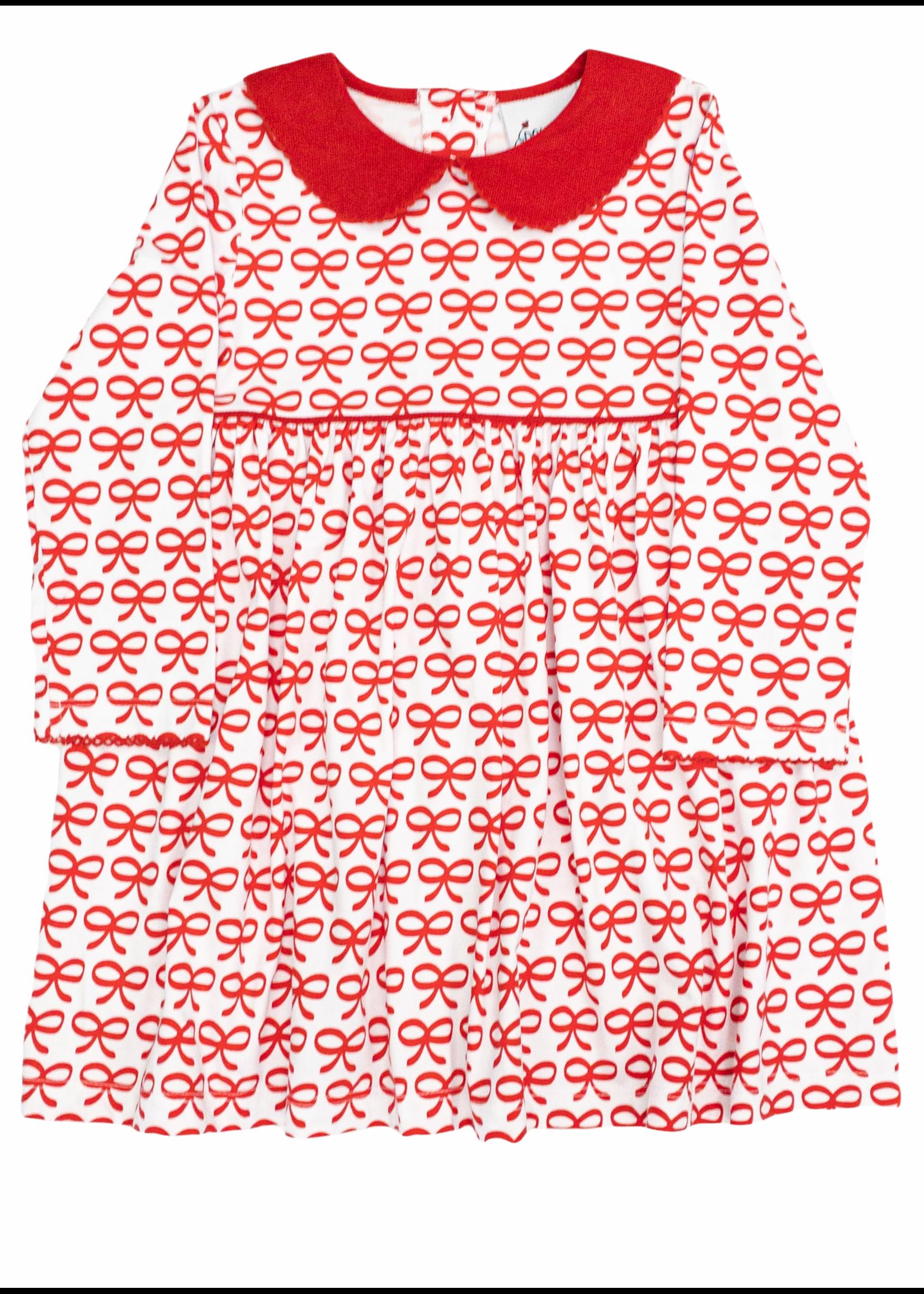 Delaney Girls White W/Red Bows Knit Collar Dress