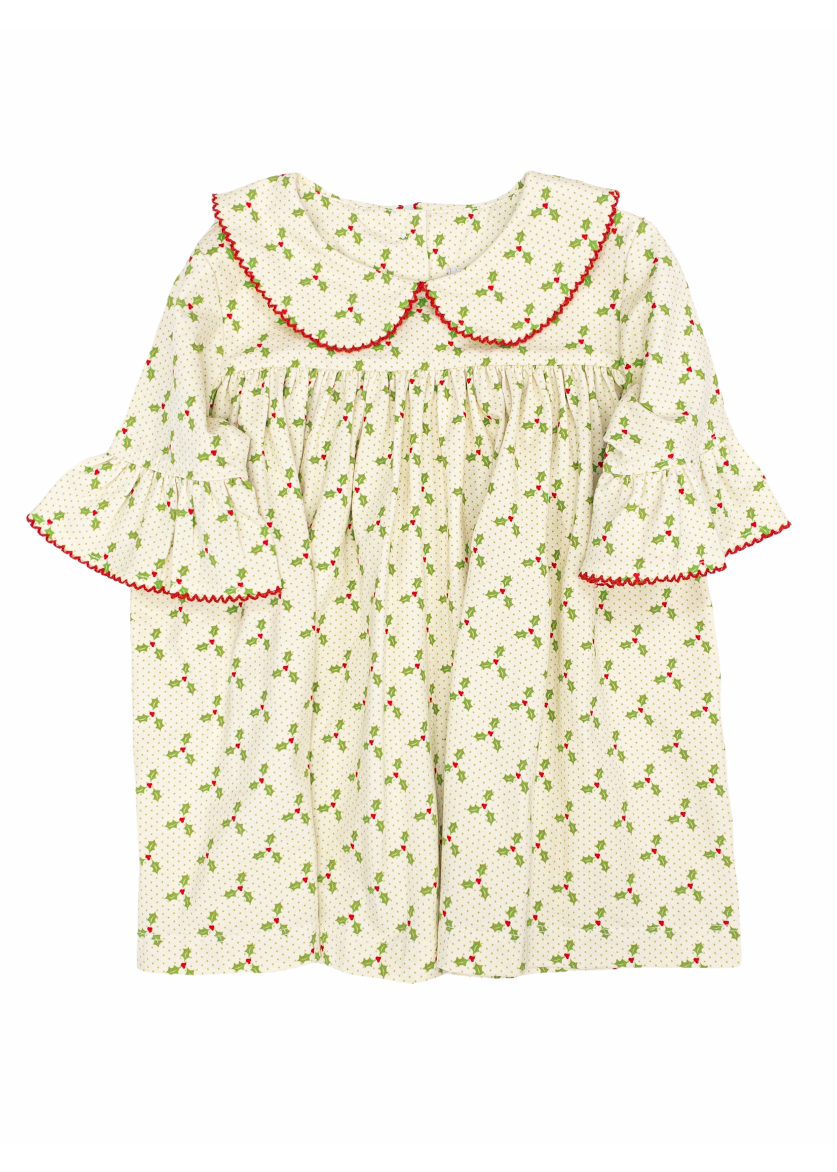Delaney Girls Knit Holly Berry Dress W/ PP Collar Ruffle Sleeve