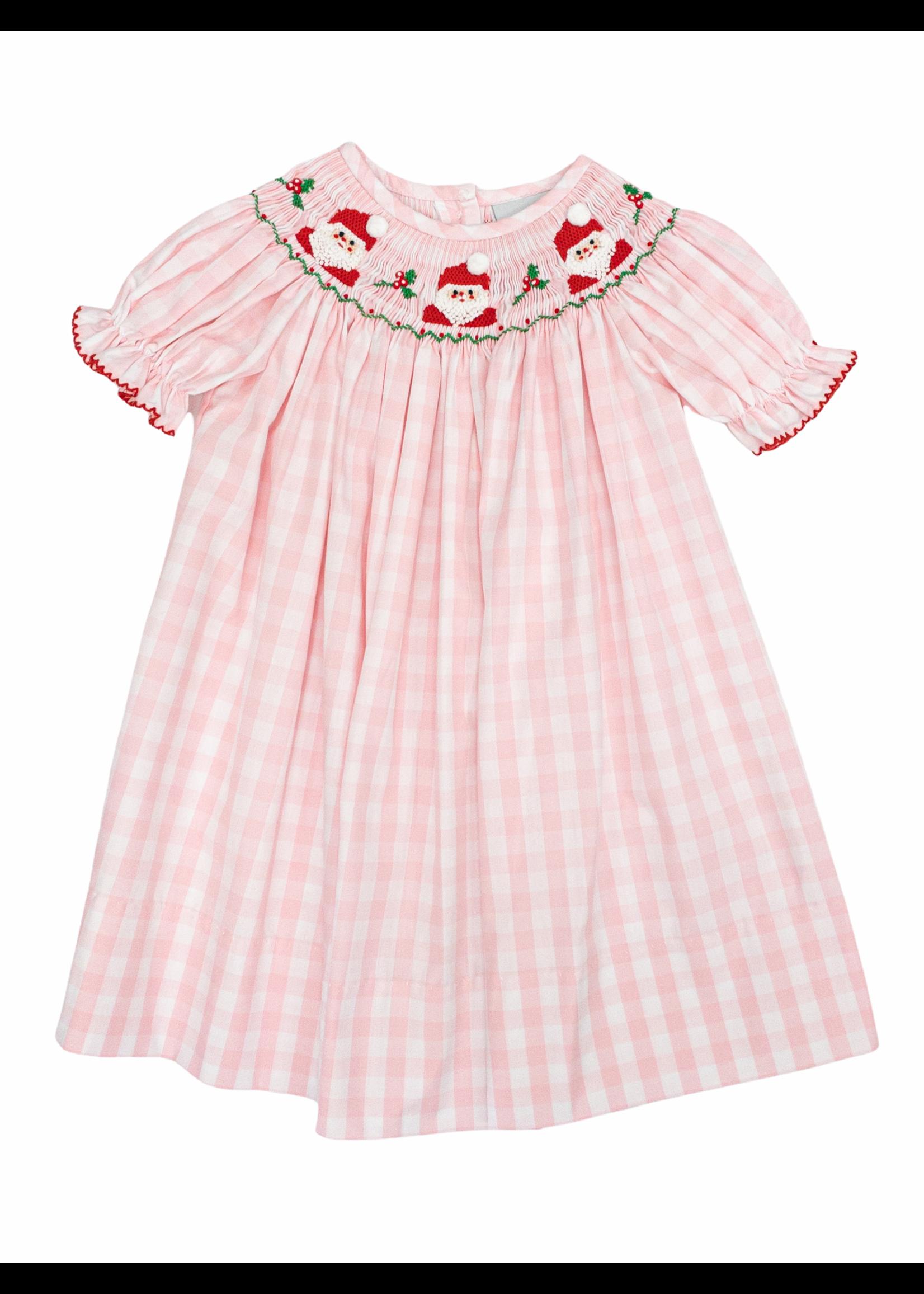 Delaney Pink Check SS Smocked Santa Bishop Dress