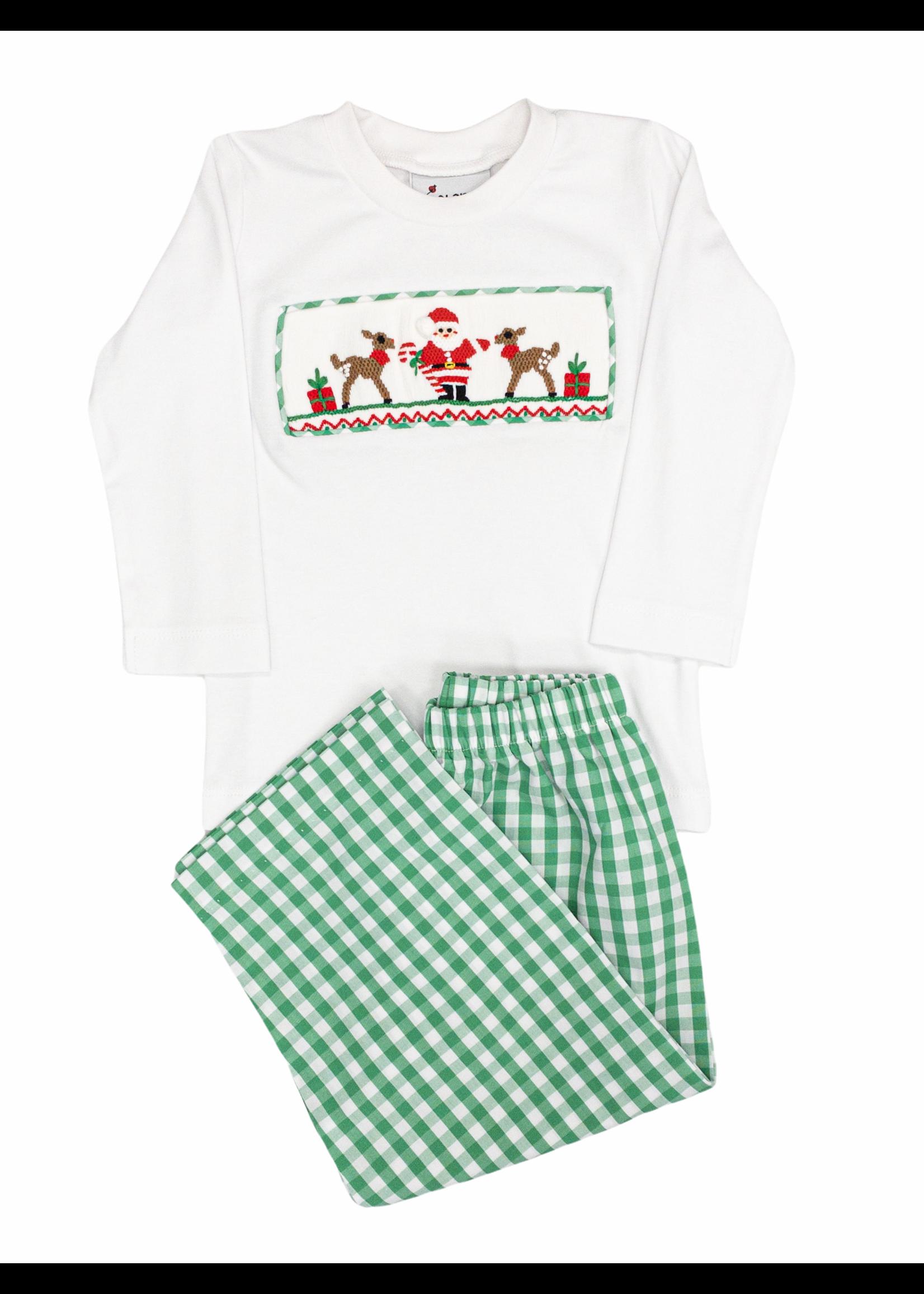 Delaney Green Check Pant Smocked Santa & Reindeer Shirt