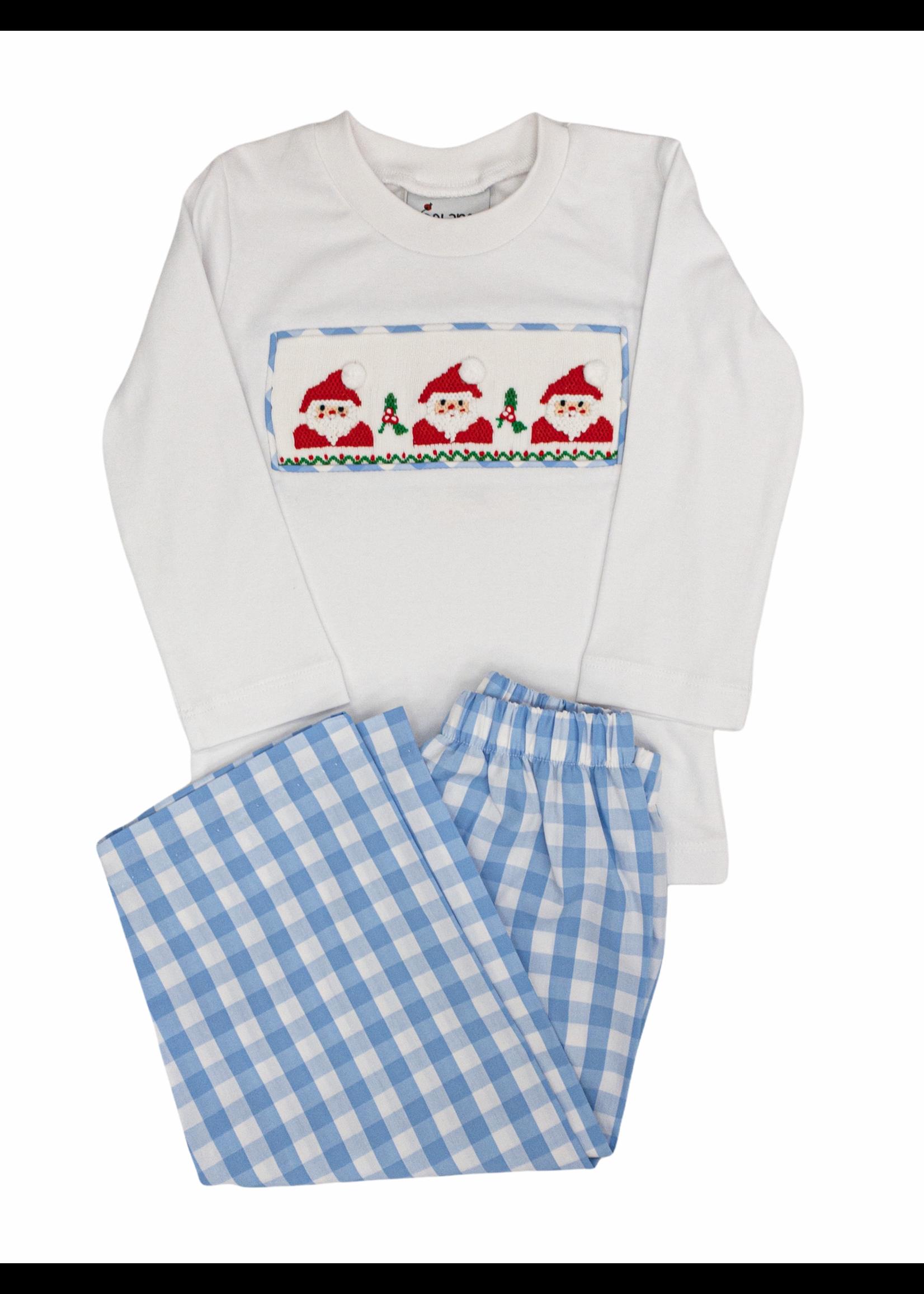 Delaney Boys Blue Check Long Pant/Santa