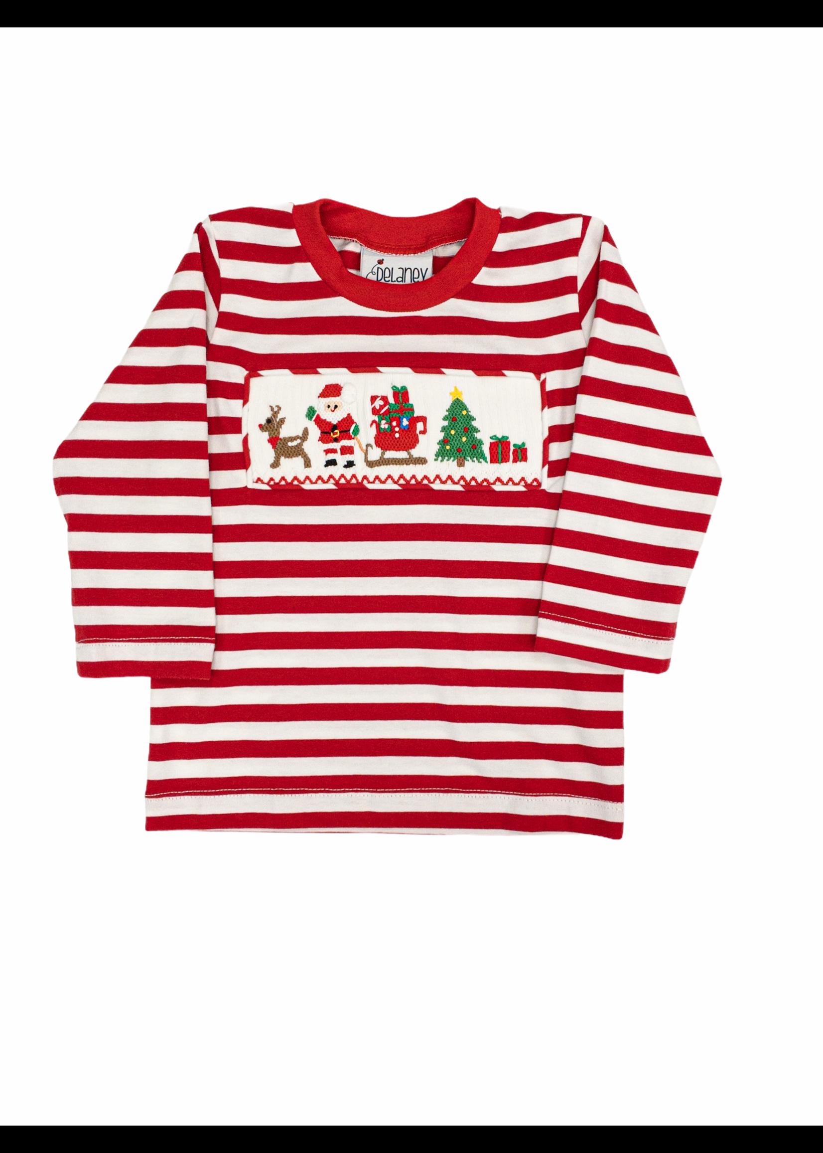 Delaney Red Stripe LS Smocked Santa Tree Reindeer