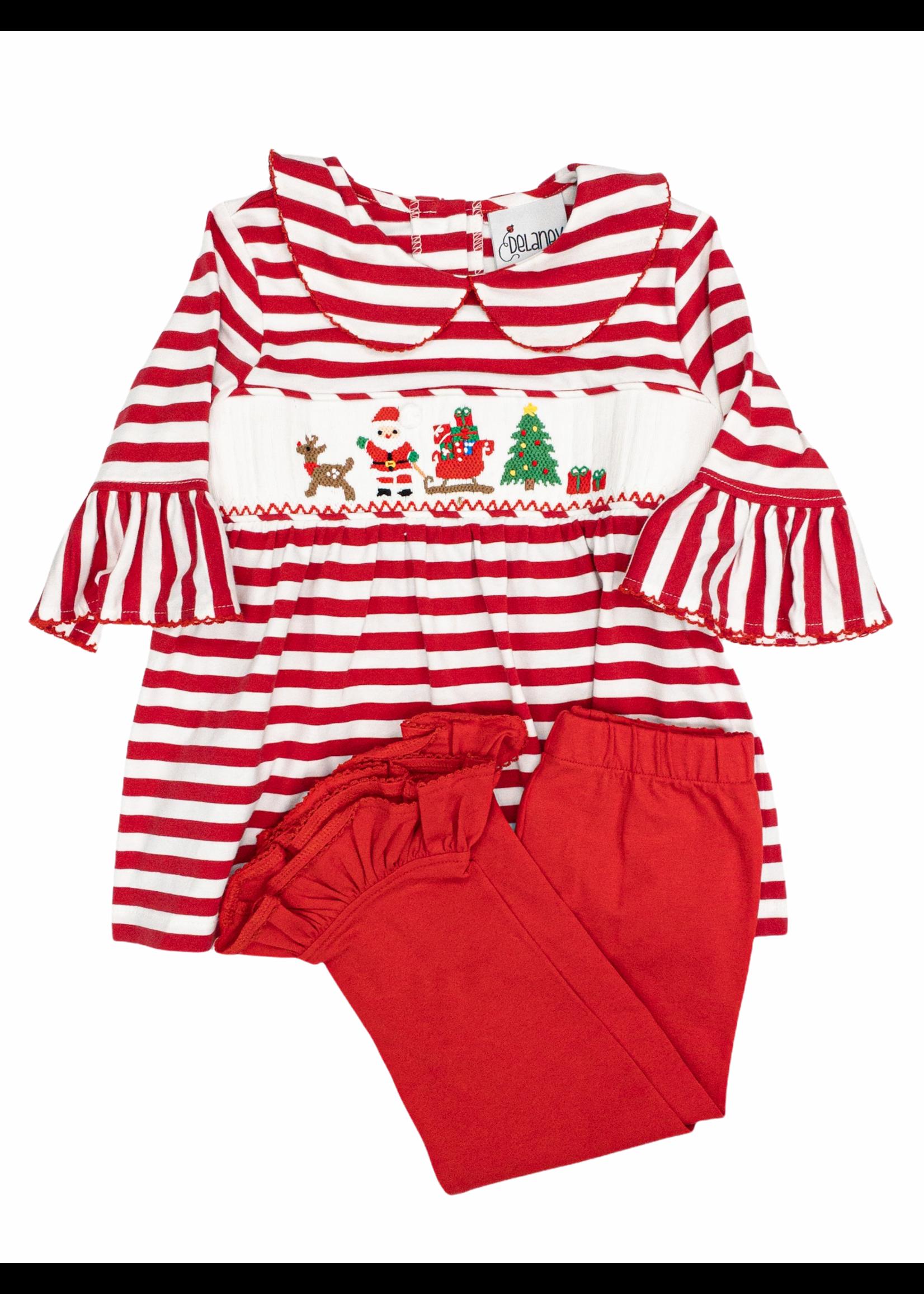 Delaney Red Stripe Knit Smocked Santa Legging Set