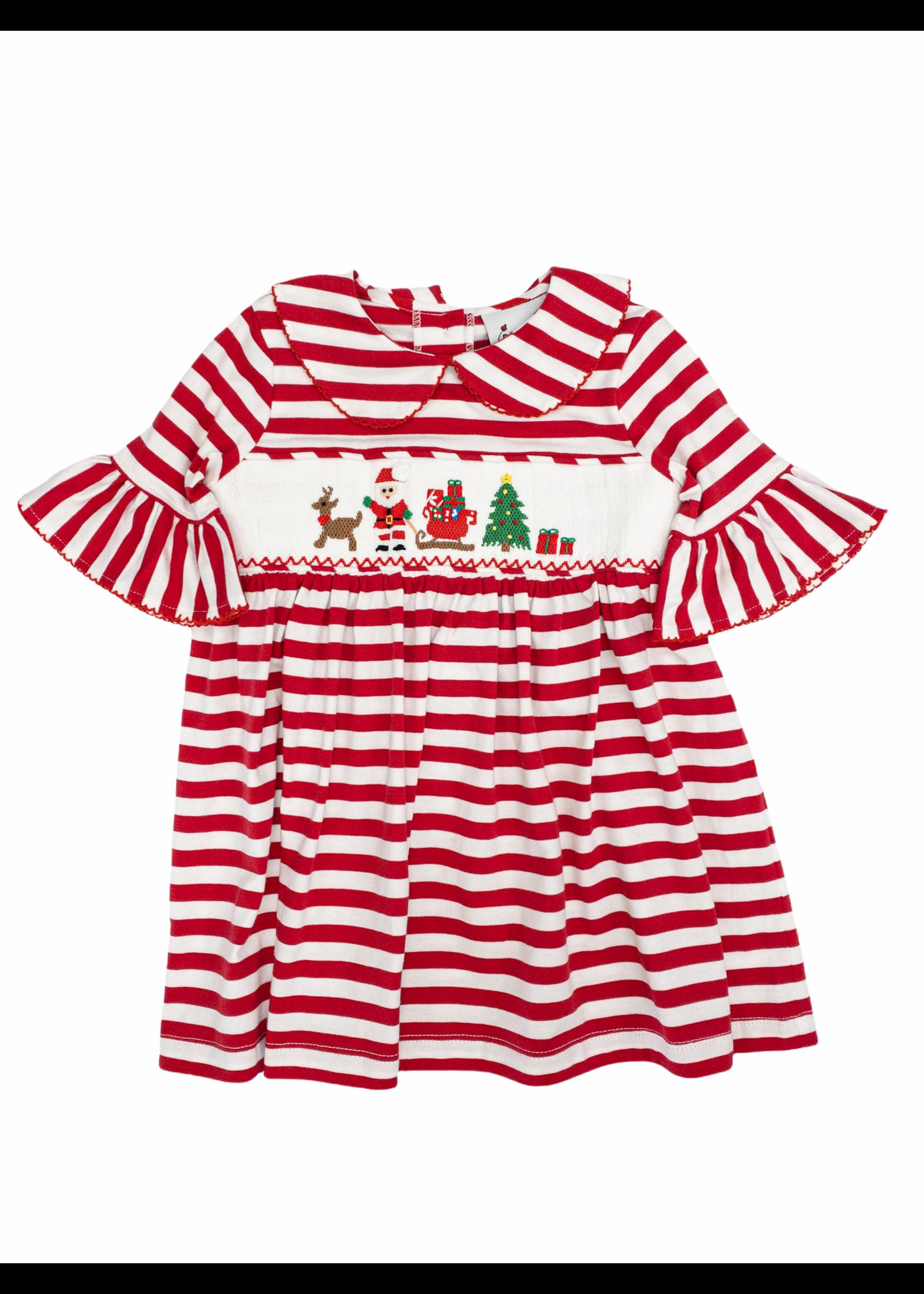 Delaney Red White Stripe Knit Smocked Santa Dress