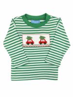 Anavini Car w/ Christmas Tree Smocked T-shirt