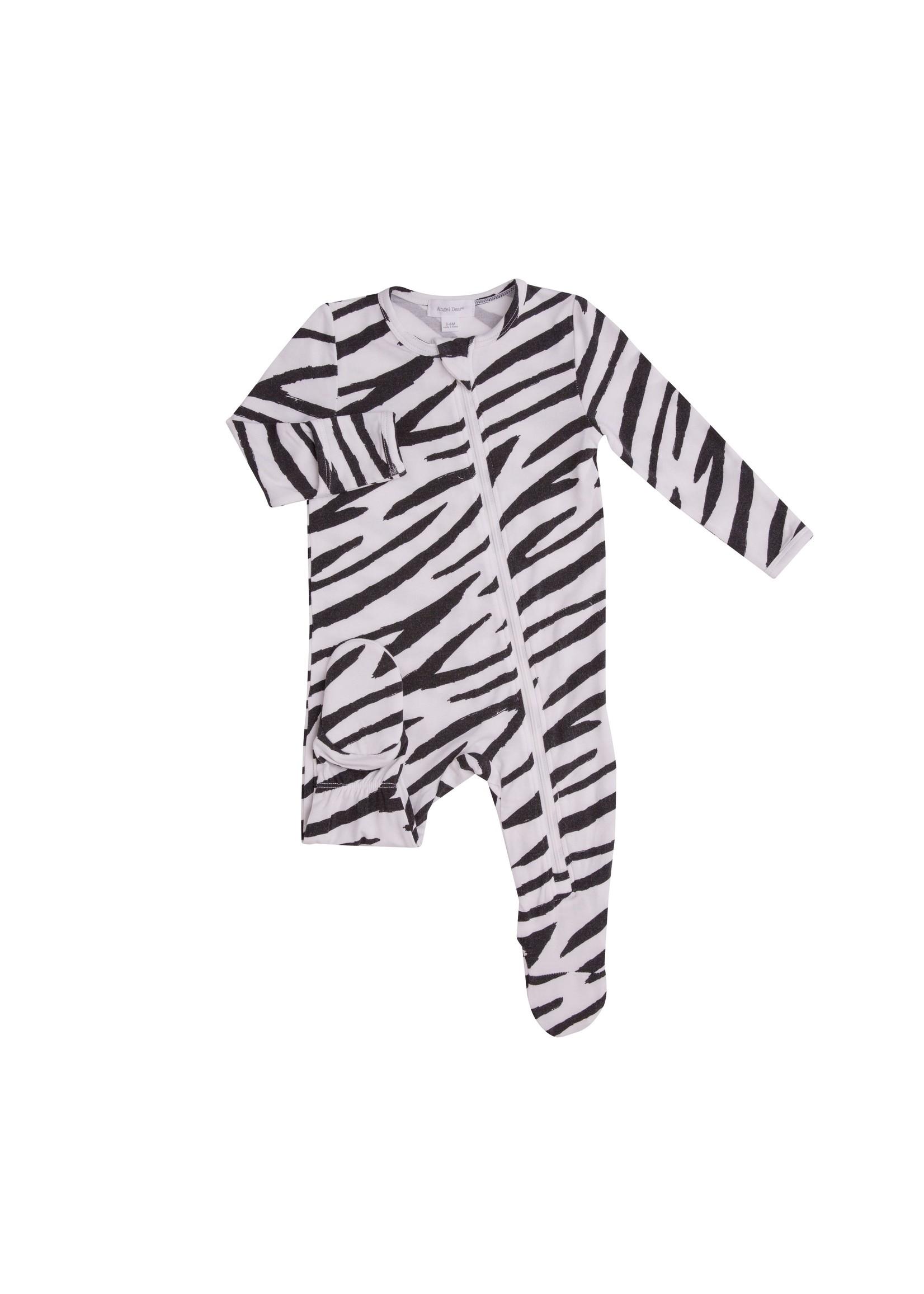 Angel Dear Zebra Print Zipper Footie Black