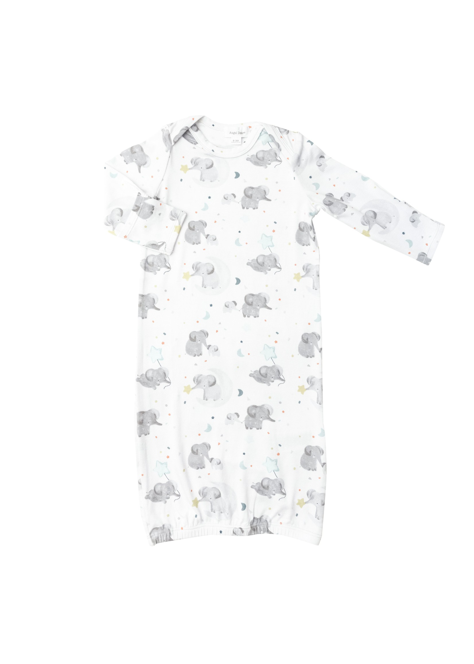 Angel Dear Elephants Kimono Gown White 0-3M