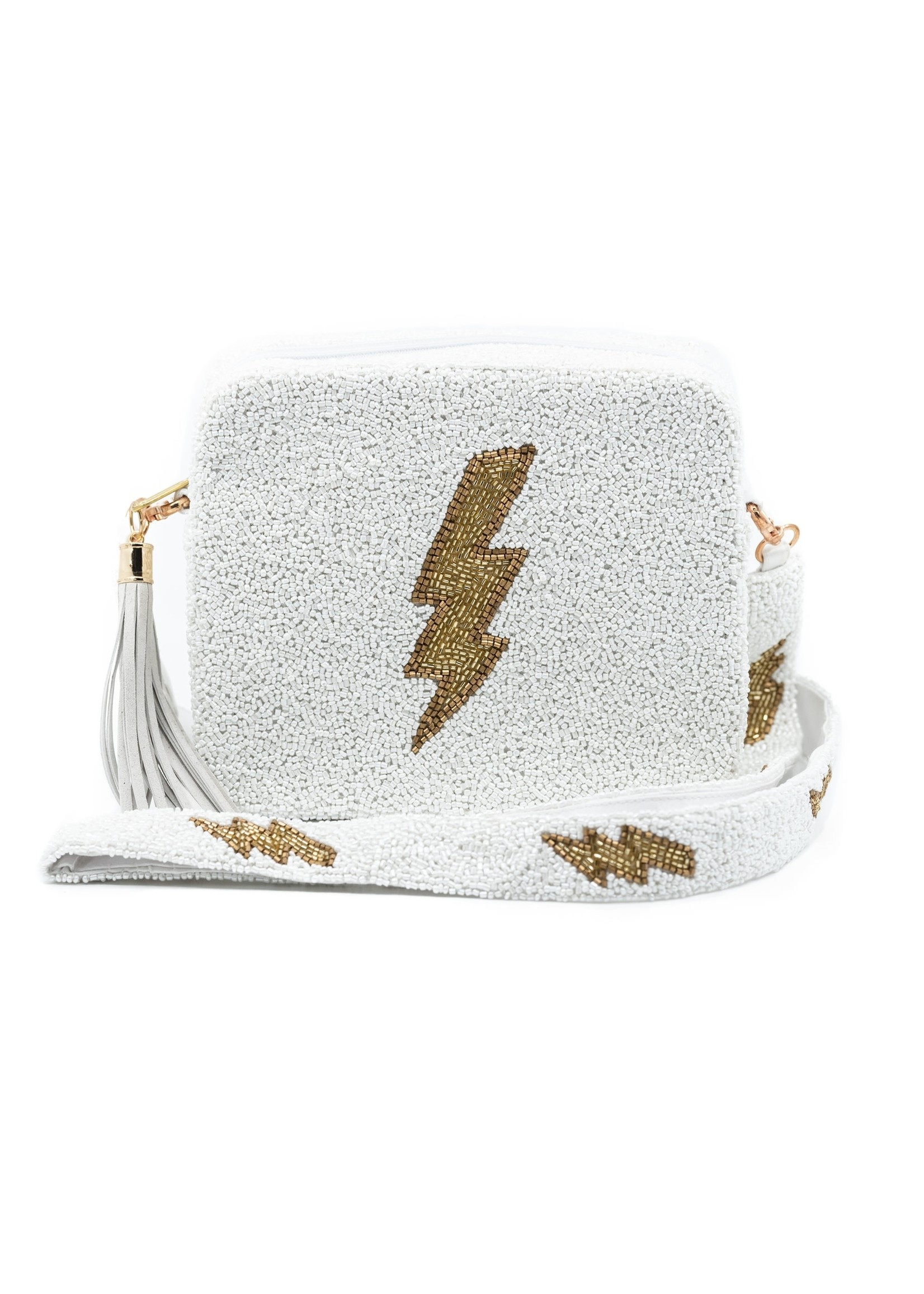 Tiana Designs White Lightening Bolt Purse
