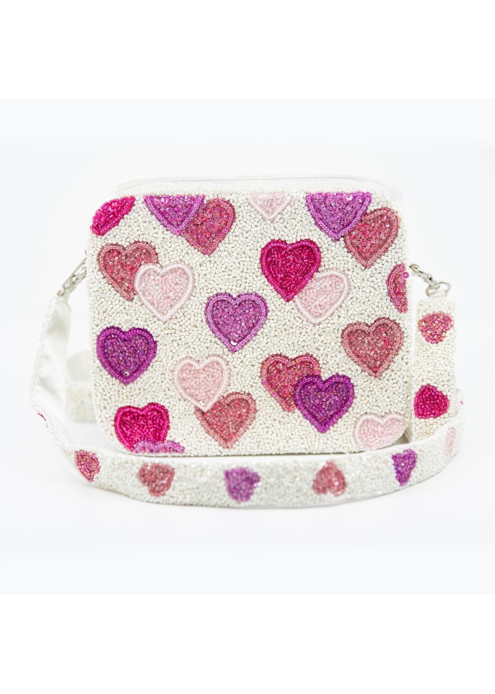 Tiana Designs White Hearts Purse